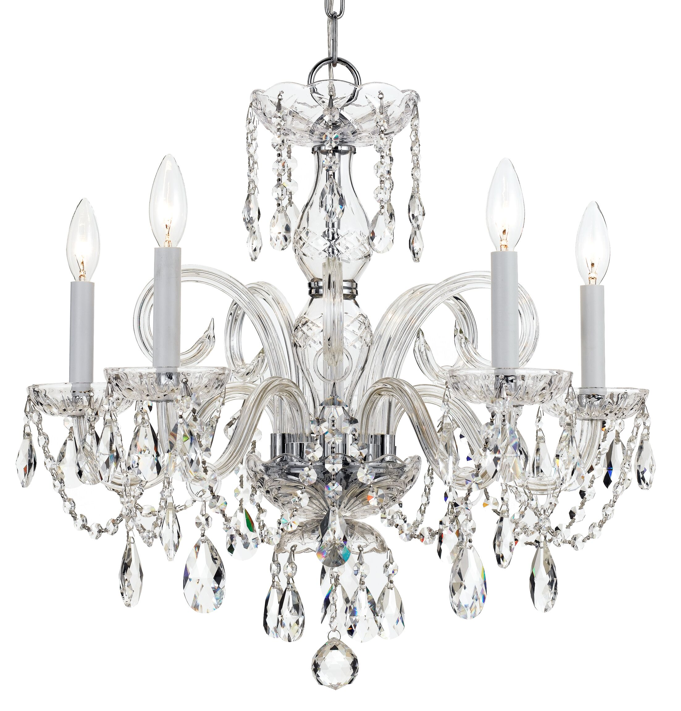 Careen 5-Light Glass Candle Style Chandelier Finish: Polished Chrome, Crystal: Swarovski Strass