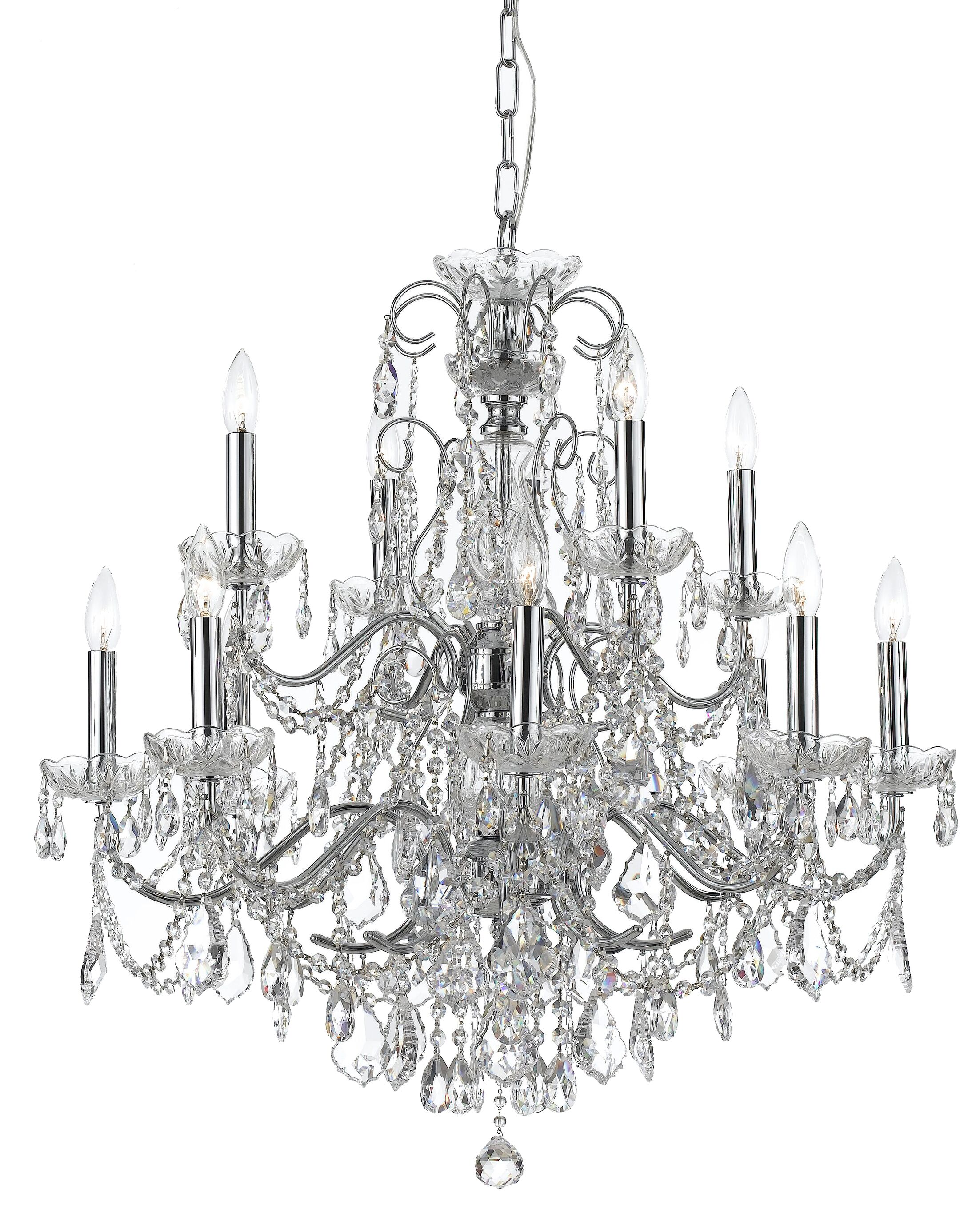 Axton 12-Light Candle Style Chandelier Crystal: Swarovski Strass