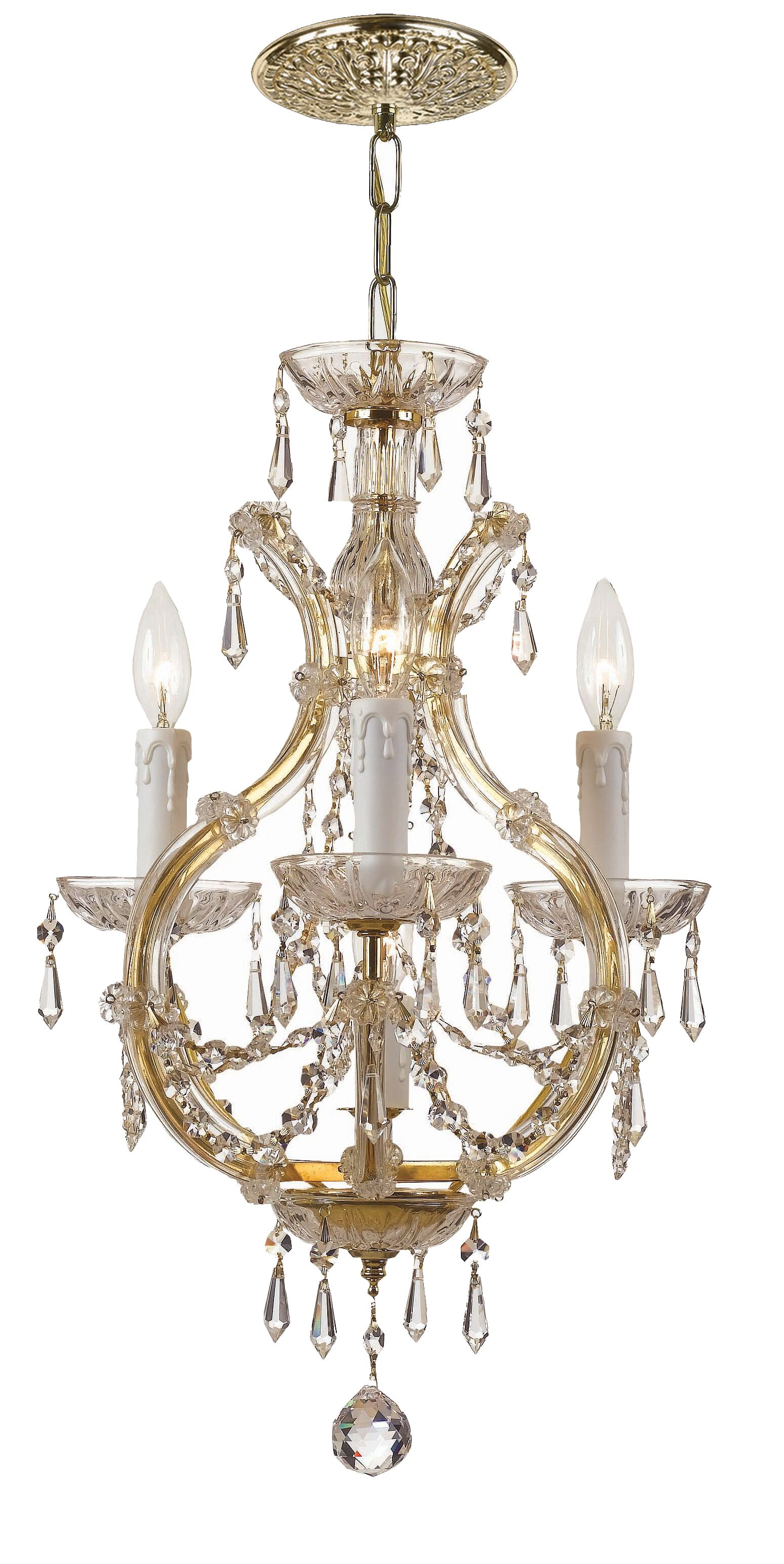 Griffiths 3-Light Candle Style Chandelier Finish: Gold, Crystal Grade: Hand Polished