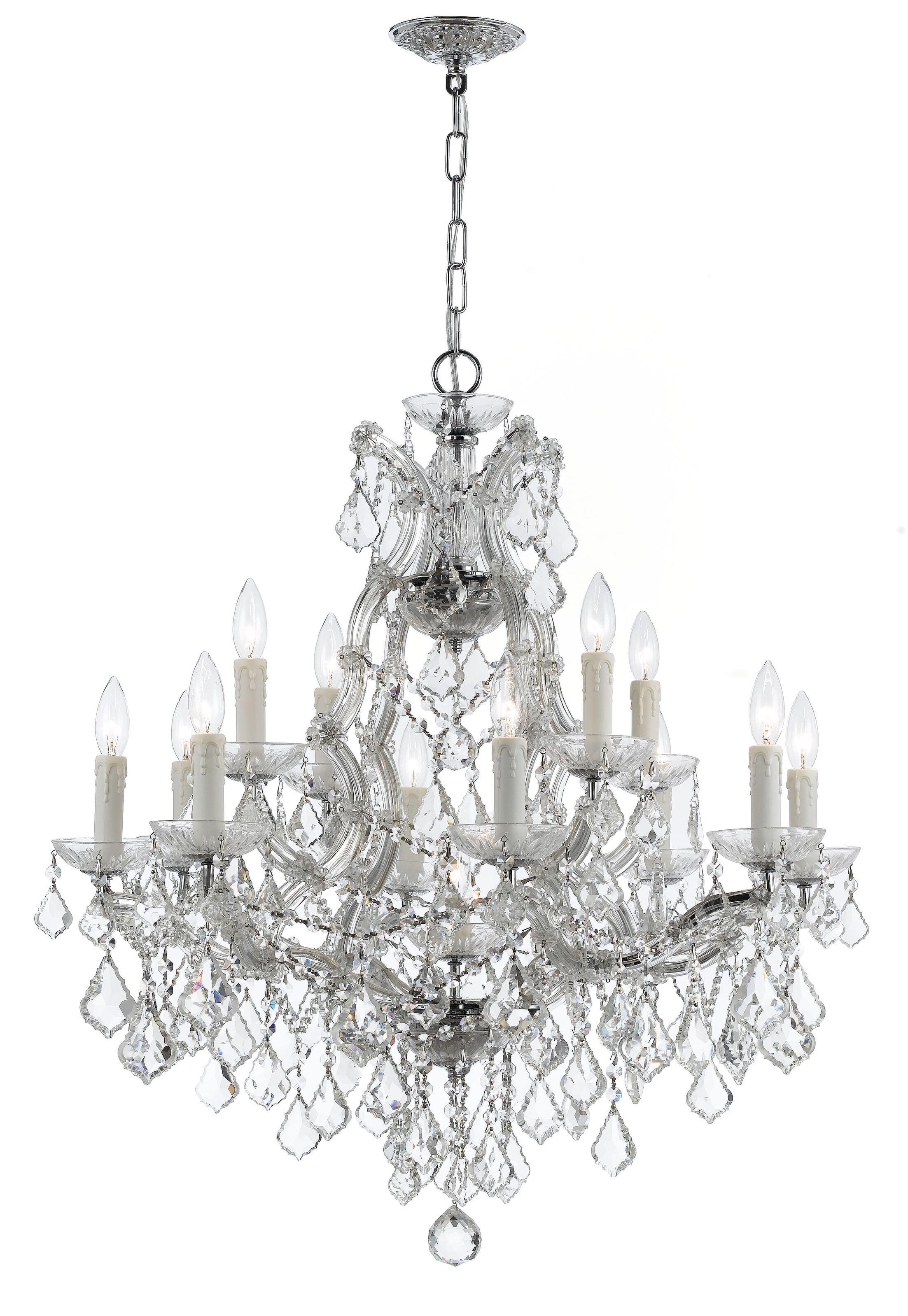 Griffiths 12-Light Candle Style Chandelier Finish: Polished Chrome, Crystal Type: Swarovski Elements