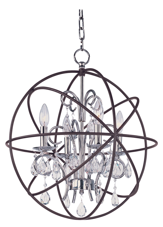 Alden 4-Light Globe Chandelier Finish: Anthracite/Polished Nickel