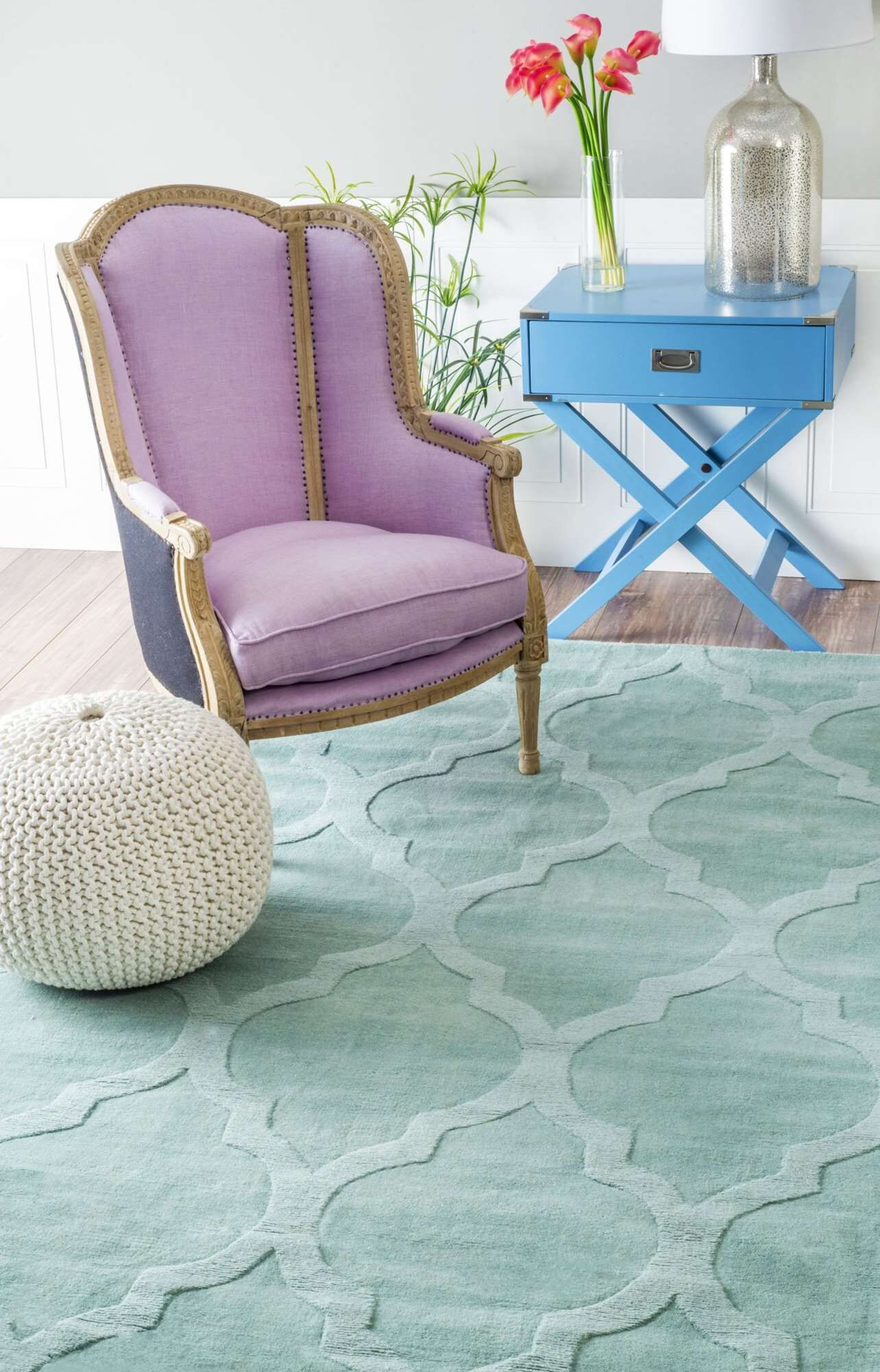 Alonza Hand-Tufted Wool Moss Area Rug Rug Size: Rectangle 4' x 6'