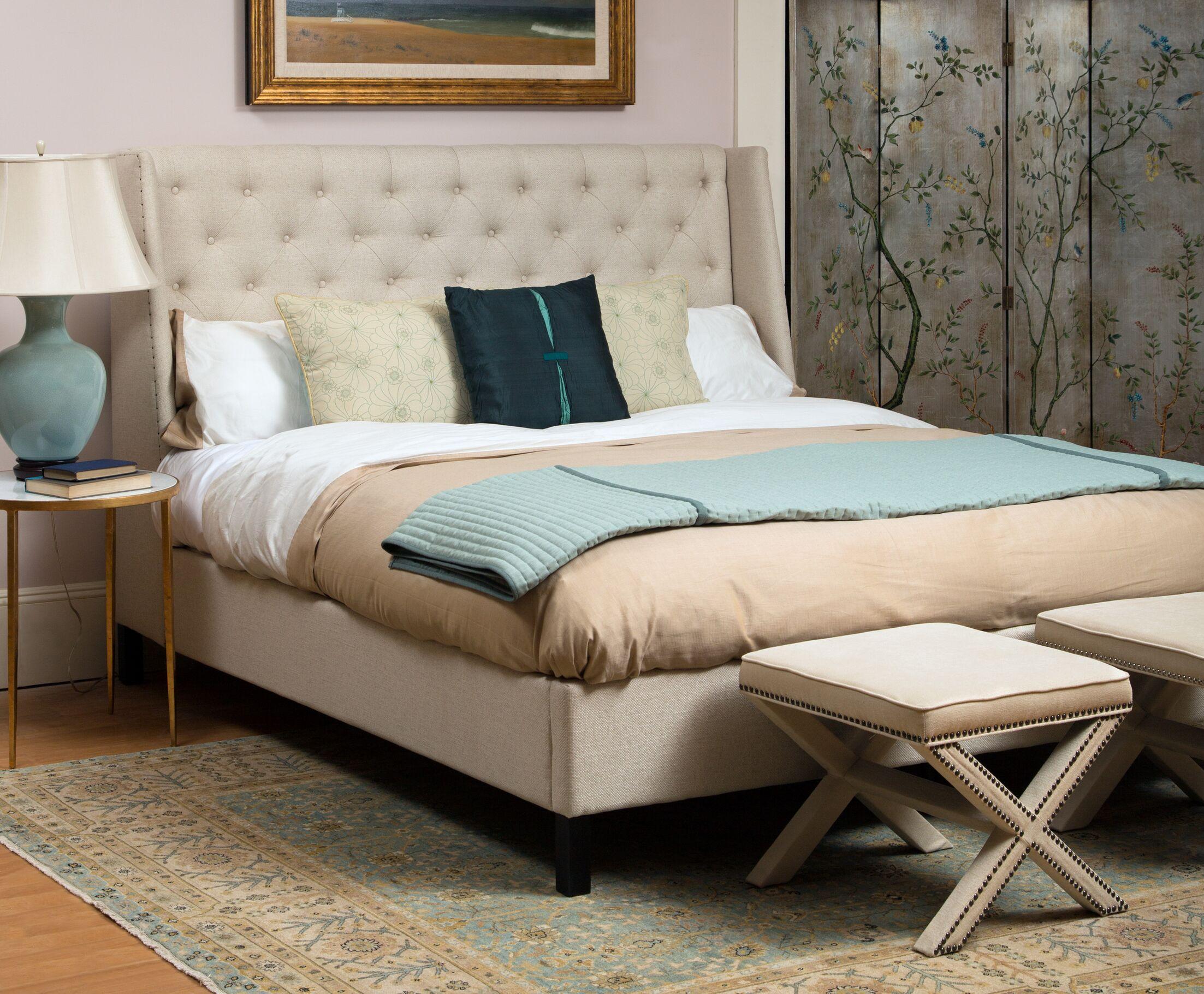 Filton Upholstered Panel Bed Color: Natural, Size: King