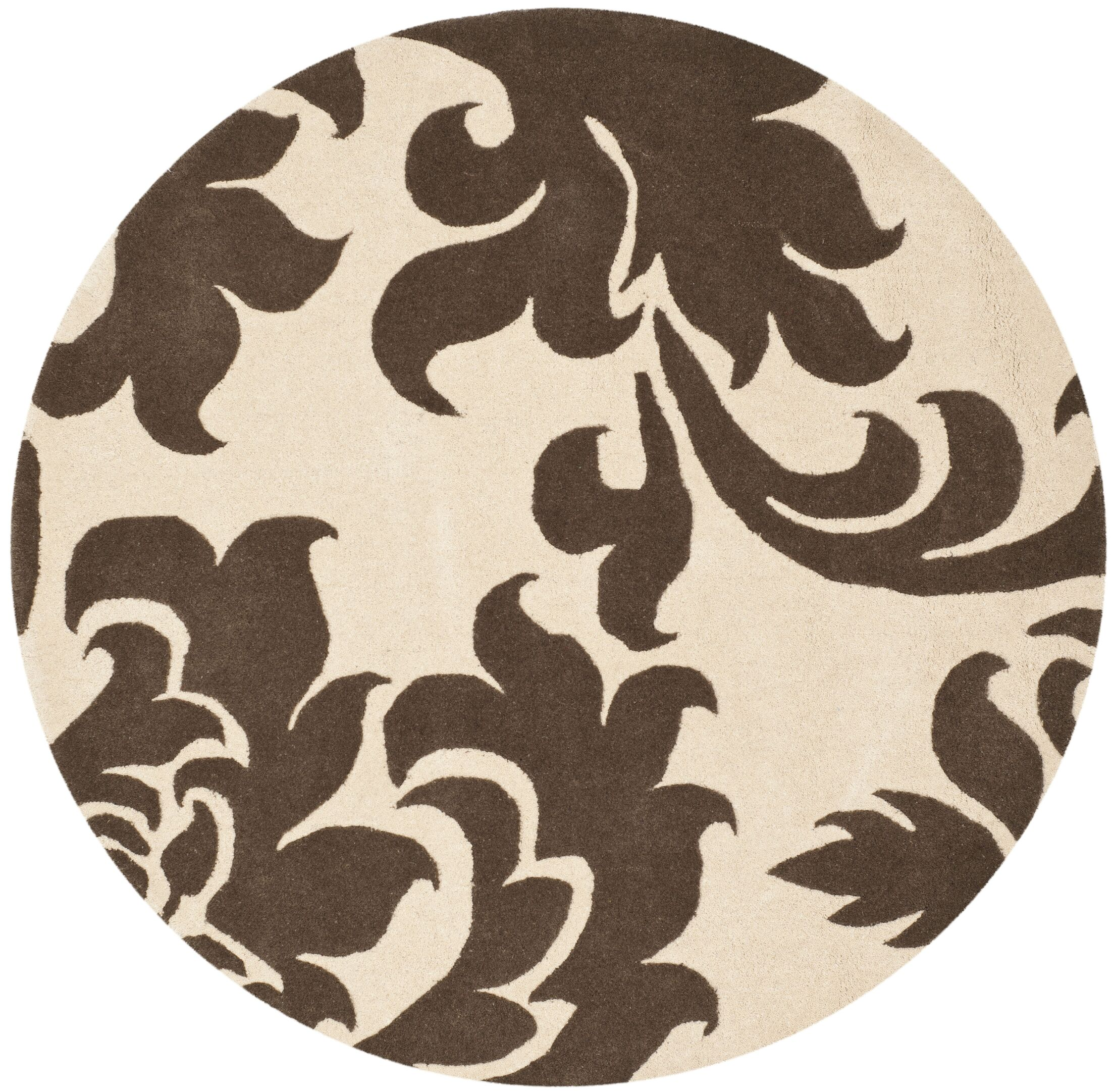 Barcelona Hand-Loomed Brown/Gray Area Rug Rug Size: Round 8'
