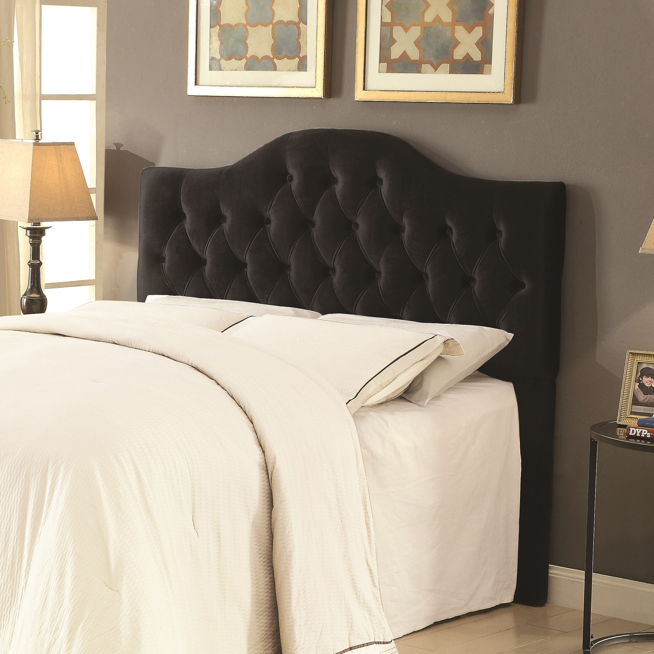 Amy Upholstered Panel Headboard Size: Full/Queen, Upholstery: Black
