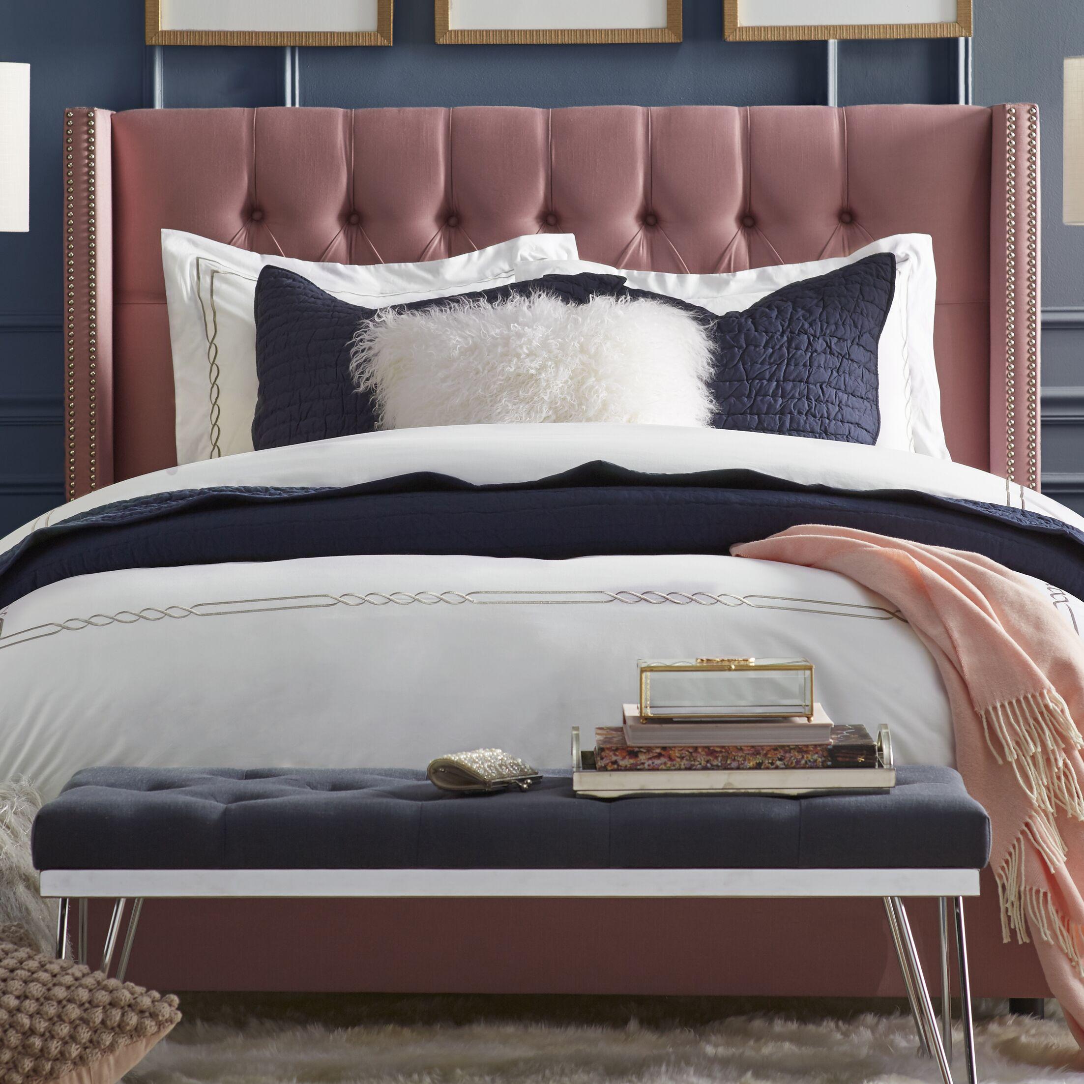 Gerrald Upholstered Panel Bed Color: Regal Dusty Rose, Size: Full
