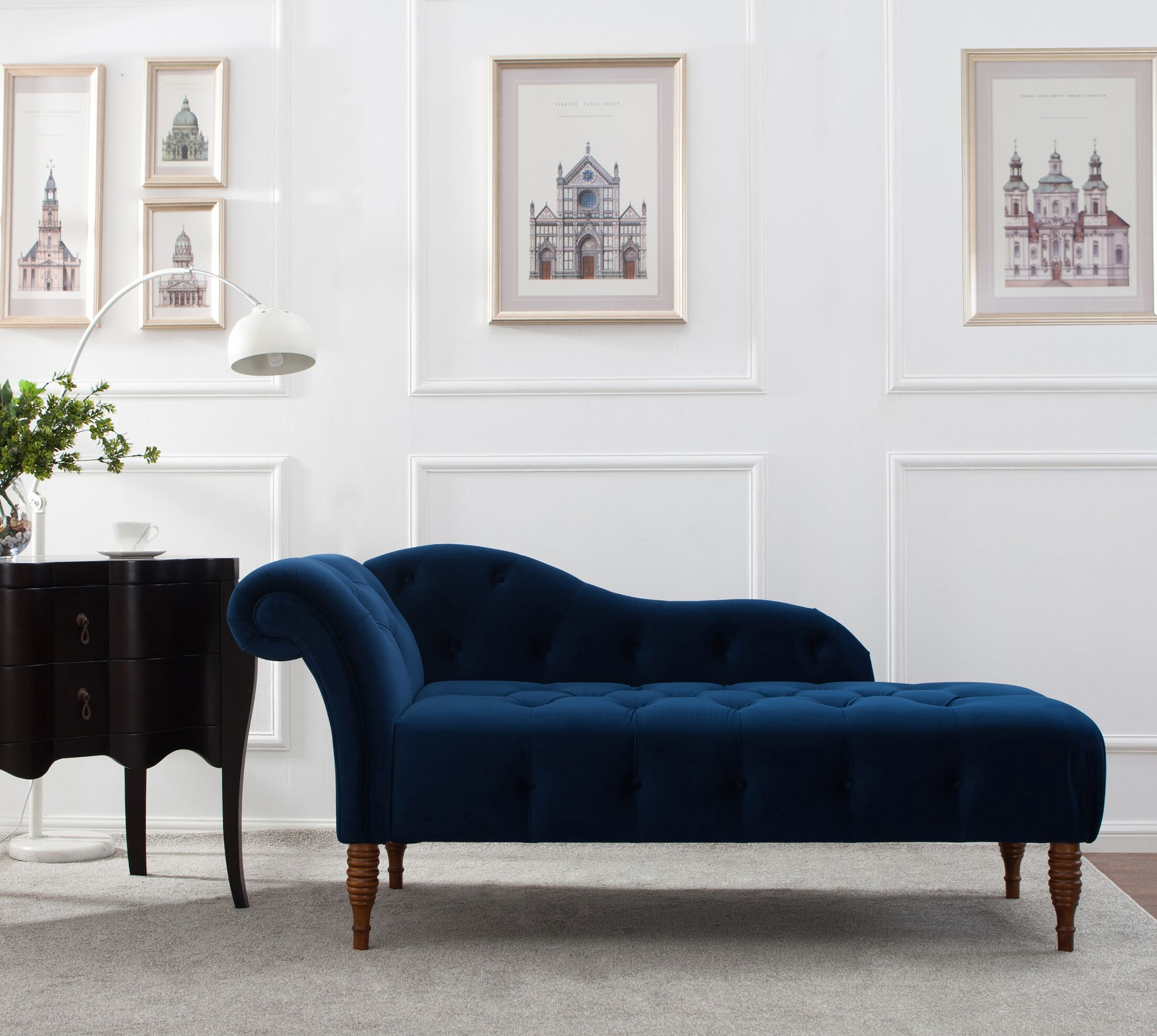 Kannon Chaise Lounge Upholstery: Navy Blue