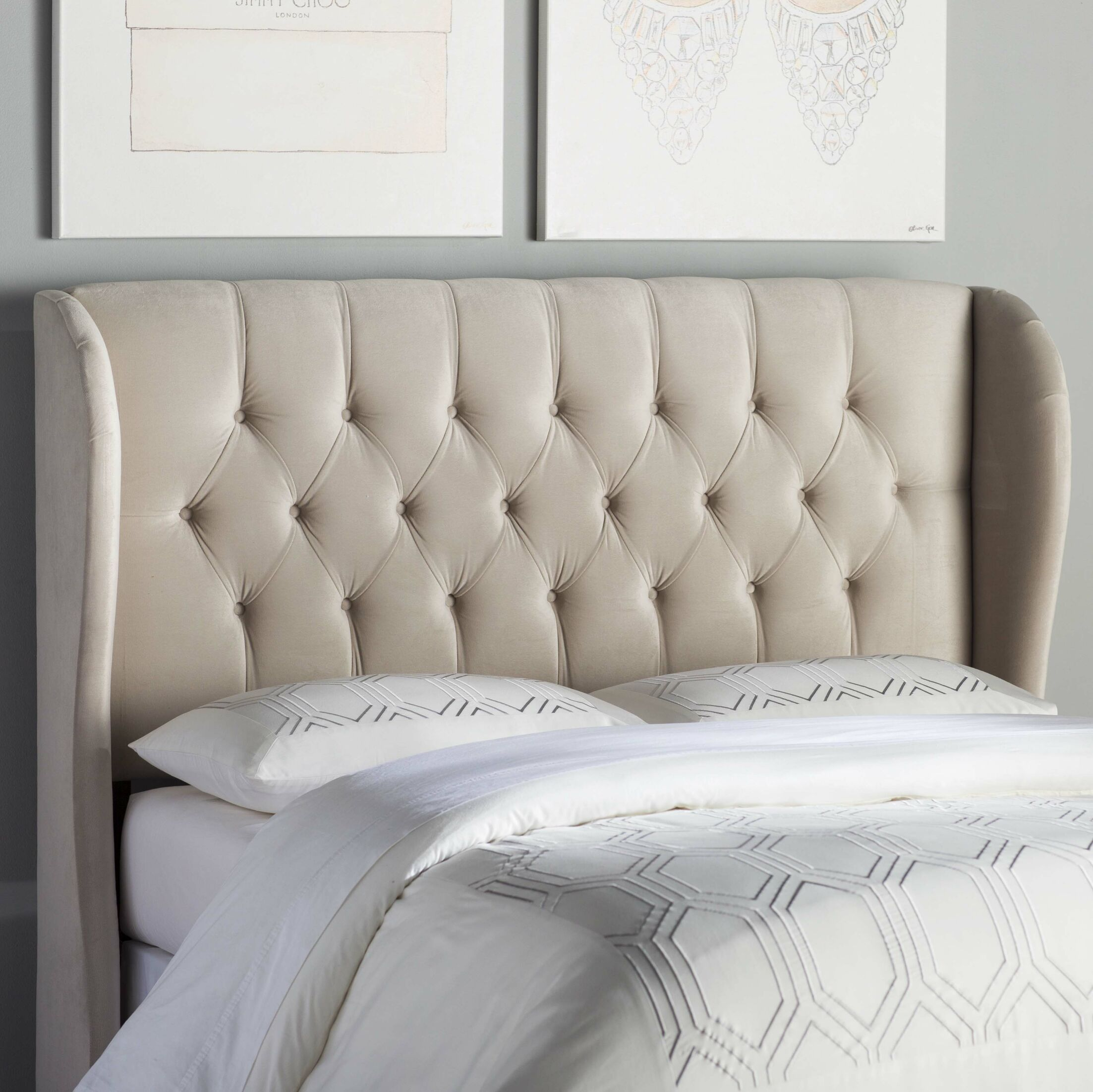 Giada Tufted Upholstered Wingback Headboard Size: California King, Upholstery: Mystere Dove