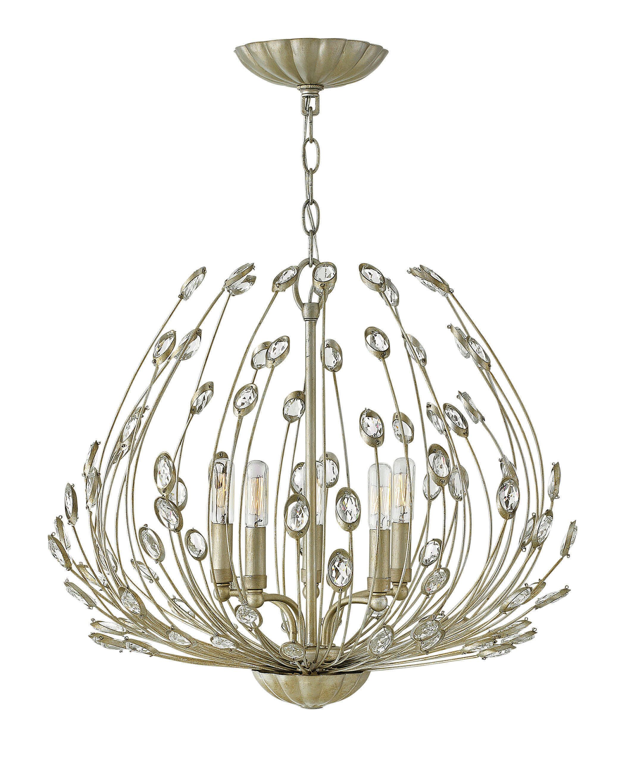 Tulah's multifaceted asymmetrical design is hand crafted with artisan details. Its beauty unfolds in layers, revealing delicately scalloped canopies and dazzling faceted clear crystal embellishments adding the perfect amount of sparkle. Features: -Num...