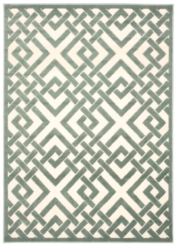 Hartz Ivory/Aqua Area Rug Rug Size: Rectangle 5'3