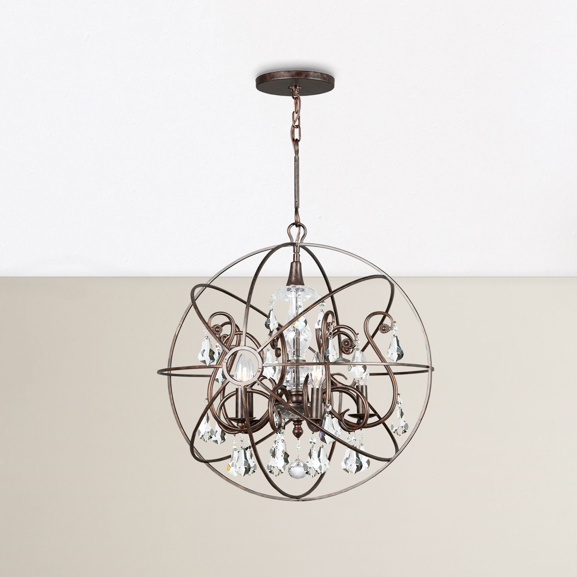Rodrigues 5-Light Globe Chandelier Finish: English Bronze, Crystal Color: Clear Hand Cut