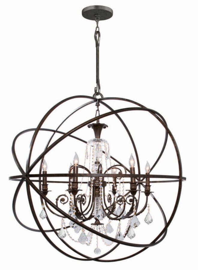 Rodrigues 6-Light Wrought Iron Globe Chandelier Finish: English Bronze, Crystal Color: Clear Hand Cut