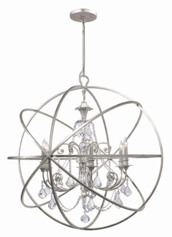 Rodrigues 6-Light Wrought Iron Globe Chandelier Crystal Color: Clear Hand Cut, Finish: Olde Silver