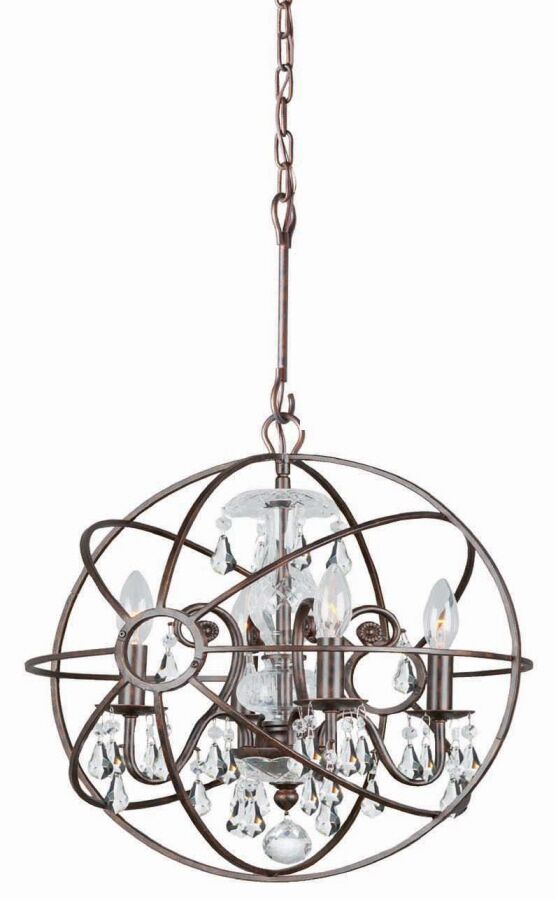 Rodrigues 4-Light Globe Chandelier Finish: English Bronze, Crystal Color: Clear Hand Cut