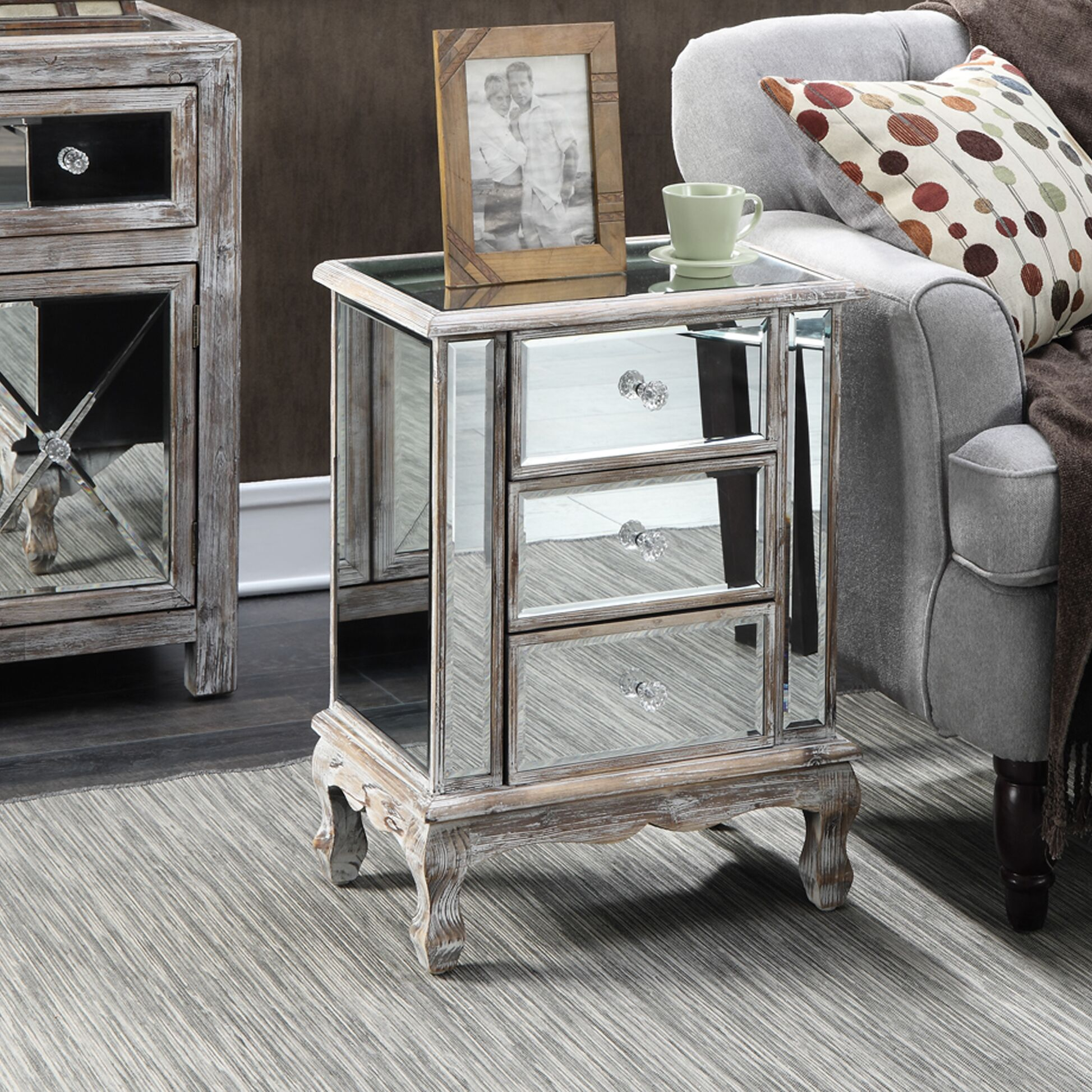 Rhys End Table with Storage Table Top Color: Silver, Table Base Color: Weathered White
