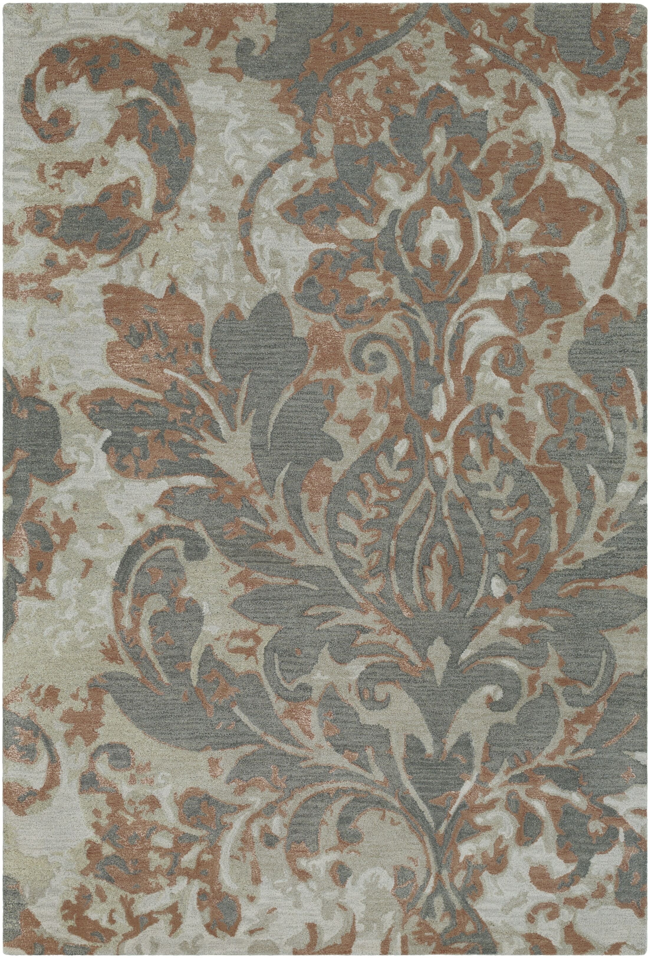 Terry Hand-Tufted Camel/Charcoal Area Rug Rug Size: Rectangle 3'3