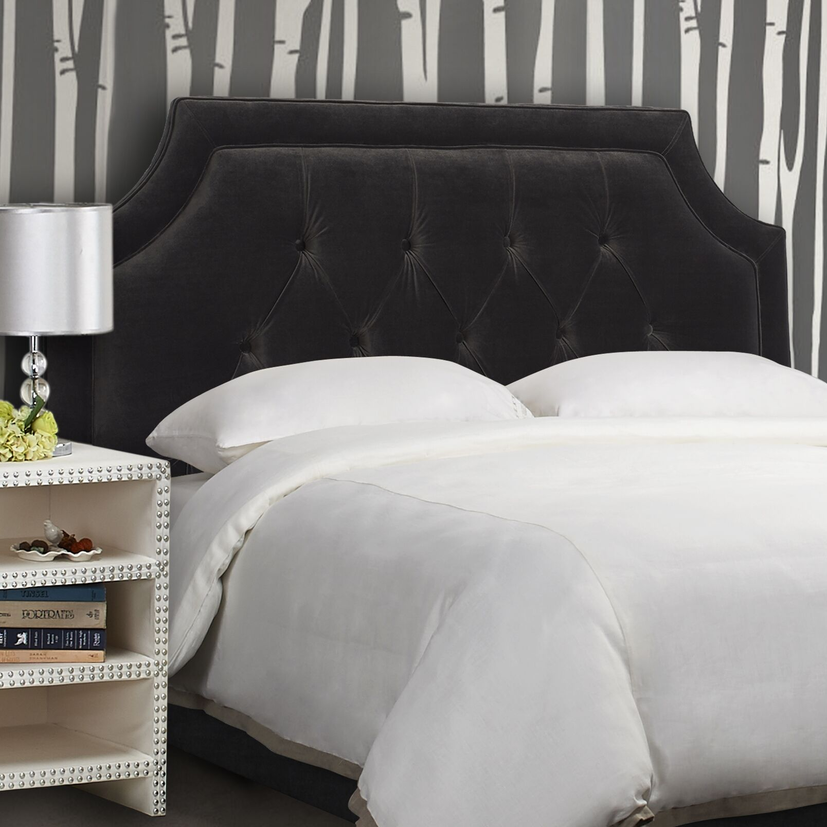 Misael Upholstered Panel Headboard Size: Queen, Upholstery: Dark Charcoal Grey