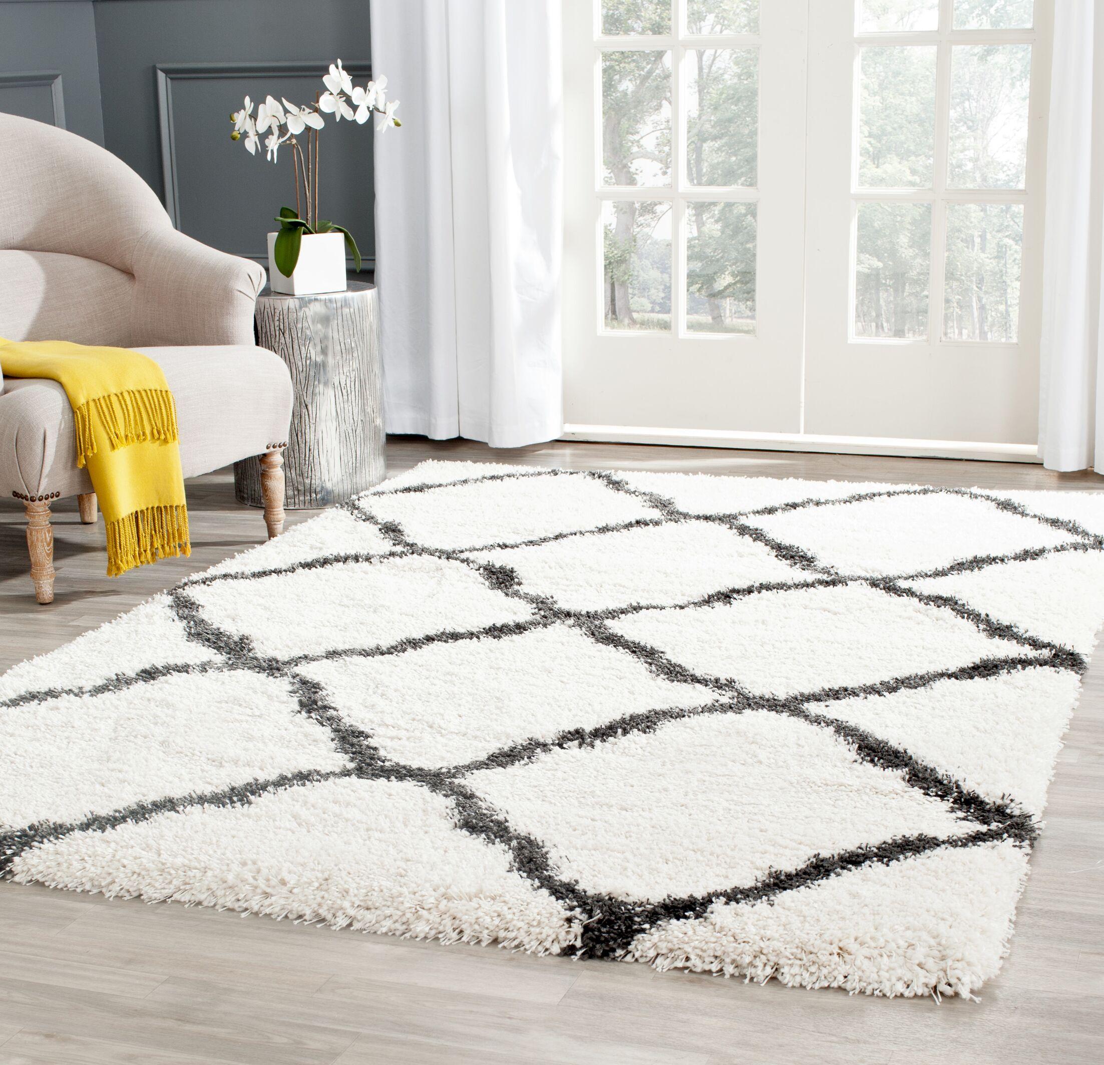 Charmain Ivory/Charcoal Area Rug Rug Size: Rectangle 5'1