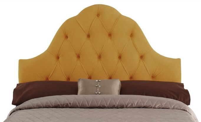Davina Arched Upholstered Panel Headboard Upholstery: Canary, Size: Full