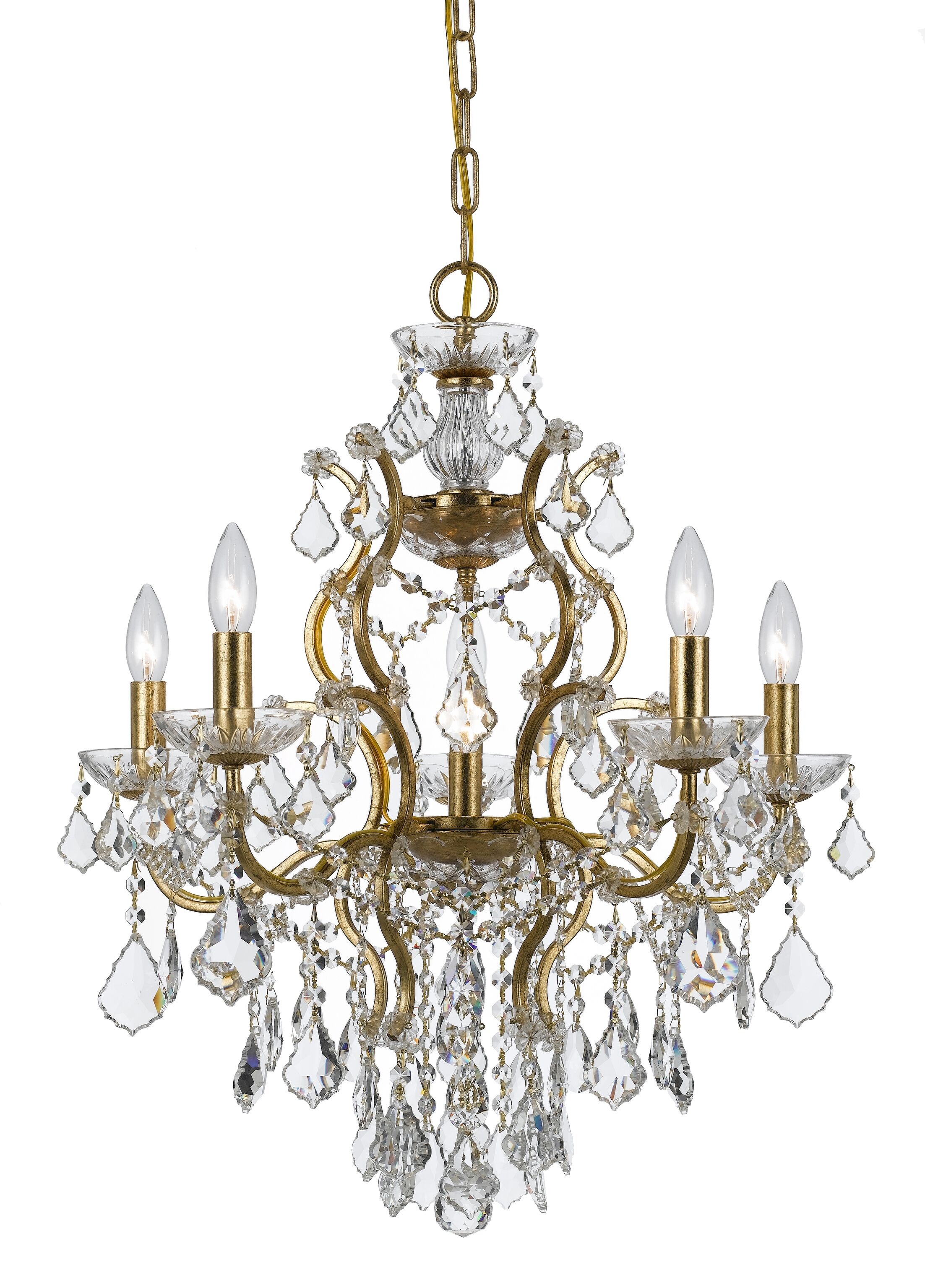Maira 6-Light Candle Style Chandelier Finish: Antique Gold, Crystal Grade: Elements