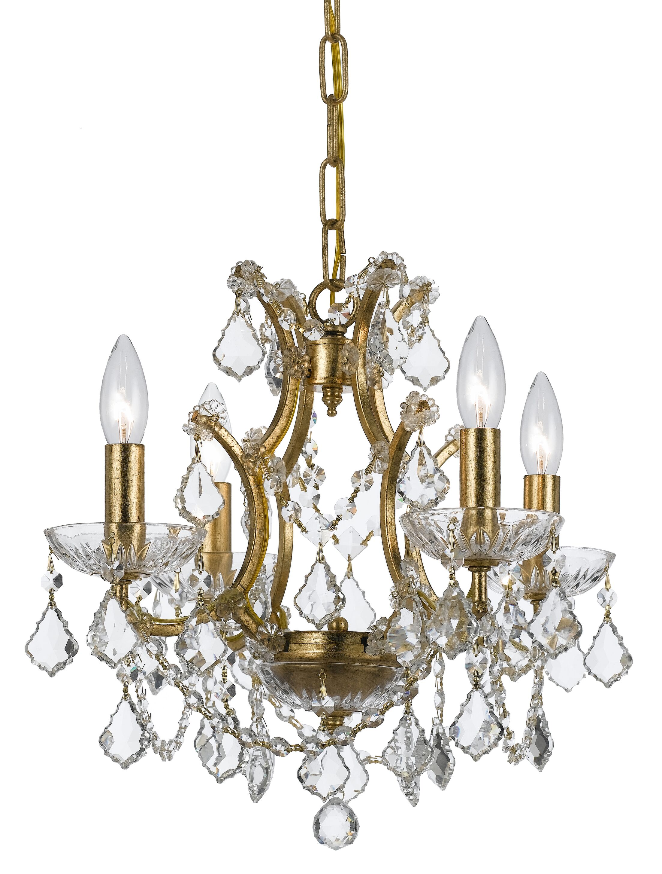 Maira 4-Light Candle Style Chandelier Crystal Grade: Elements, Finish: Vibrant Bronze