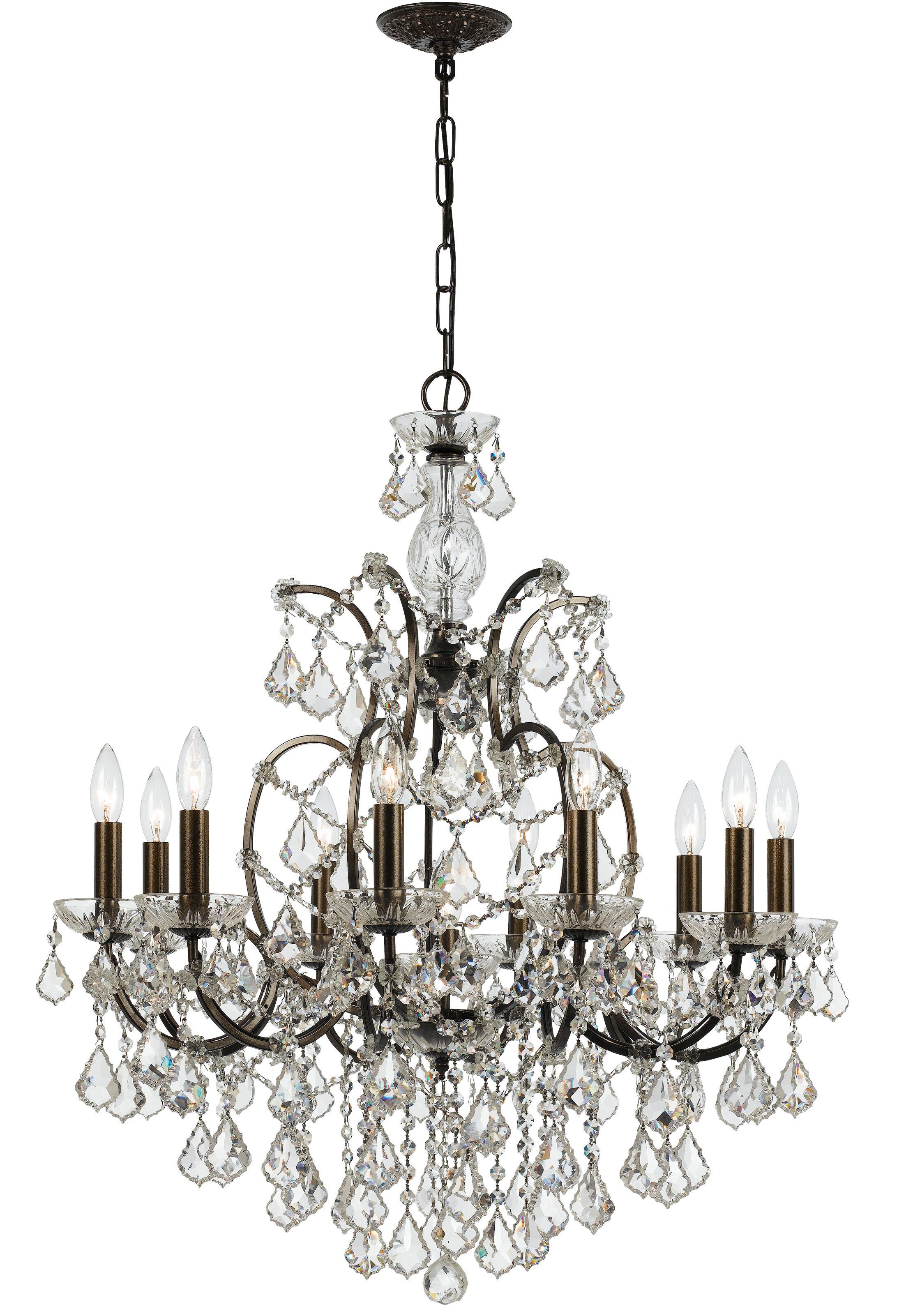 Maira 10-Light Candle Style Chandelier Crystal Grade: Swarovski Elements, Finish: Vibrant Bronze