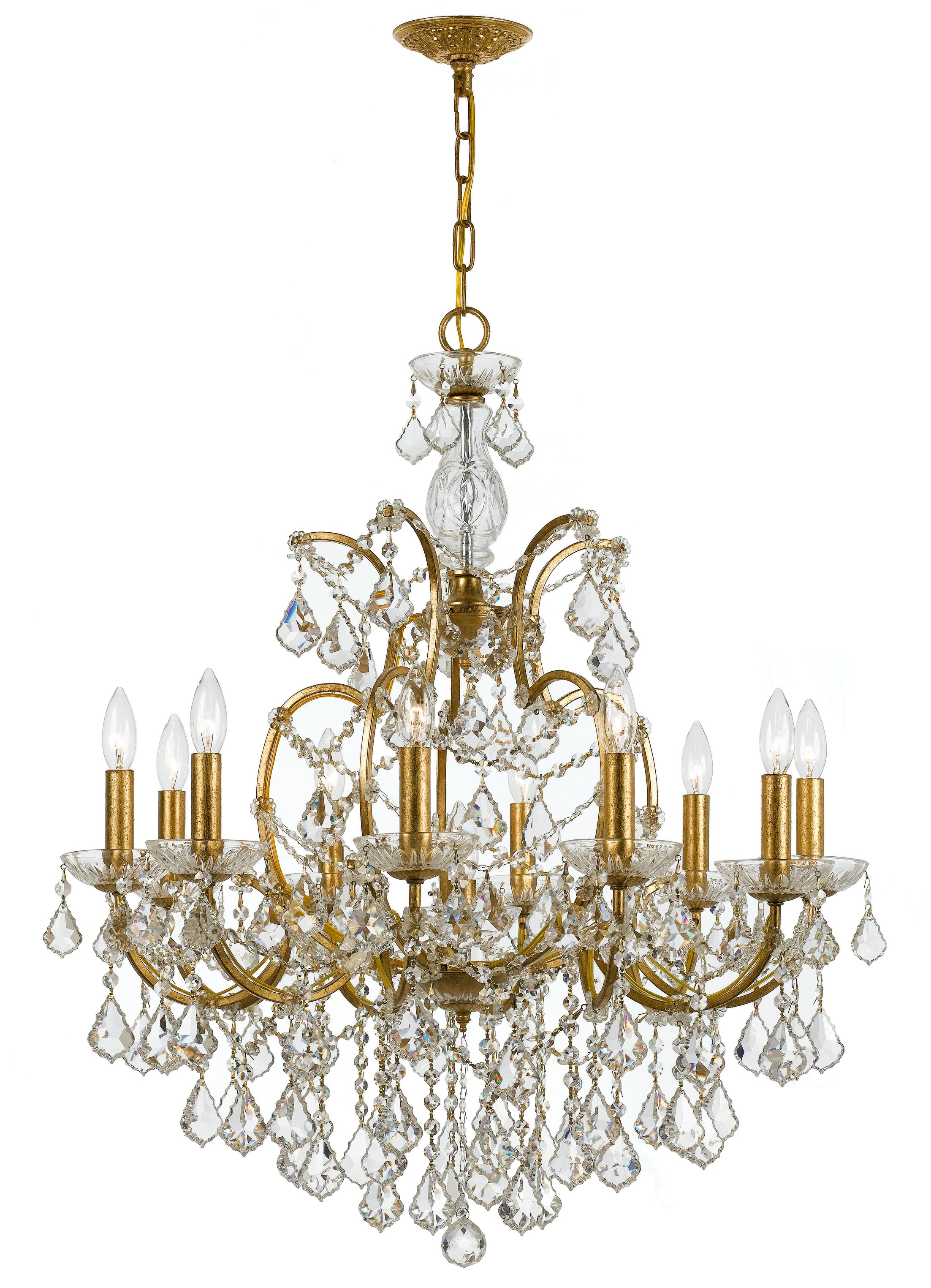 Maira 10-Light Candle Style Chandelier Finish: Antique Gold, Crystal Grade: Swarovski Elements