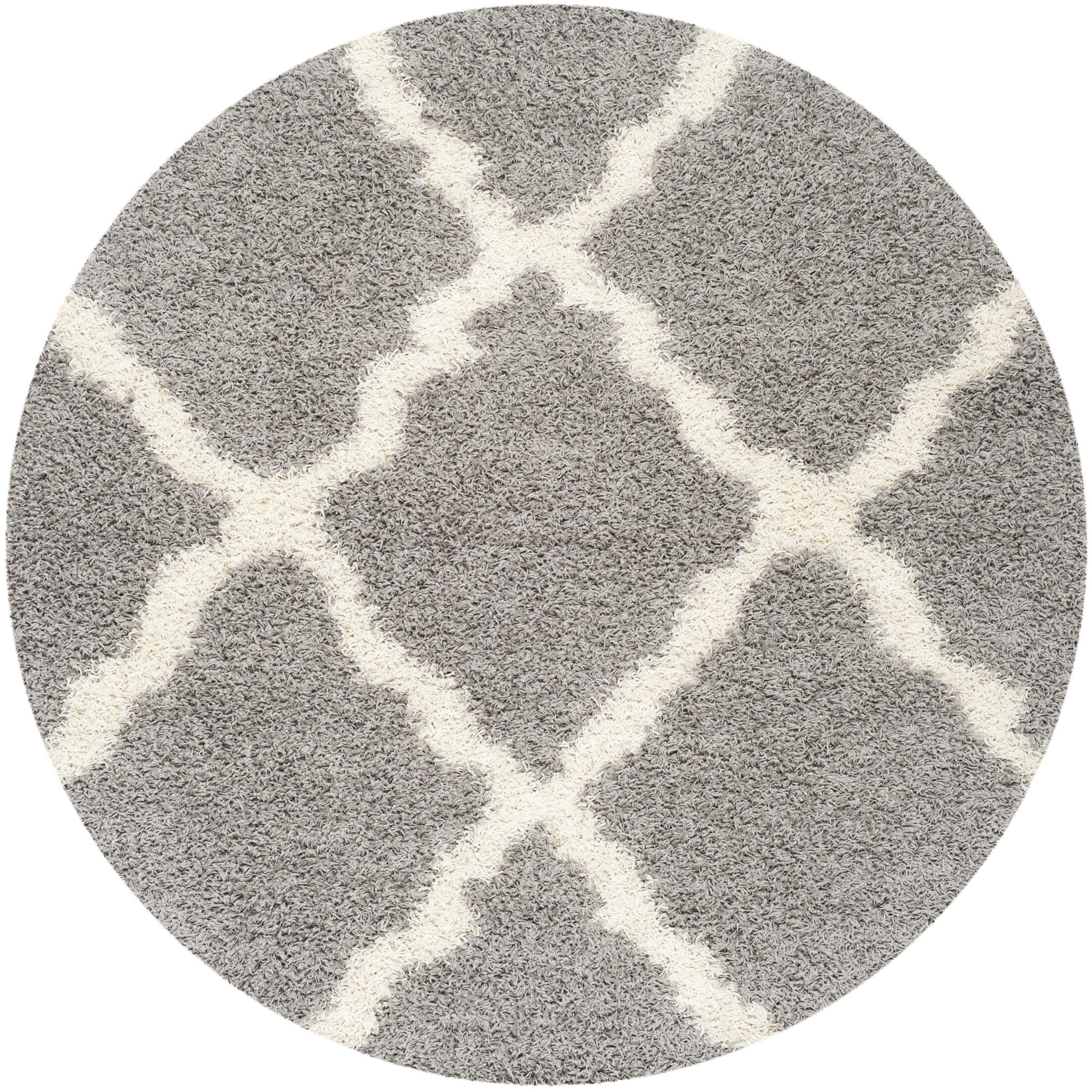 Charmain Gray Area Rug Rug Size: Round 6'