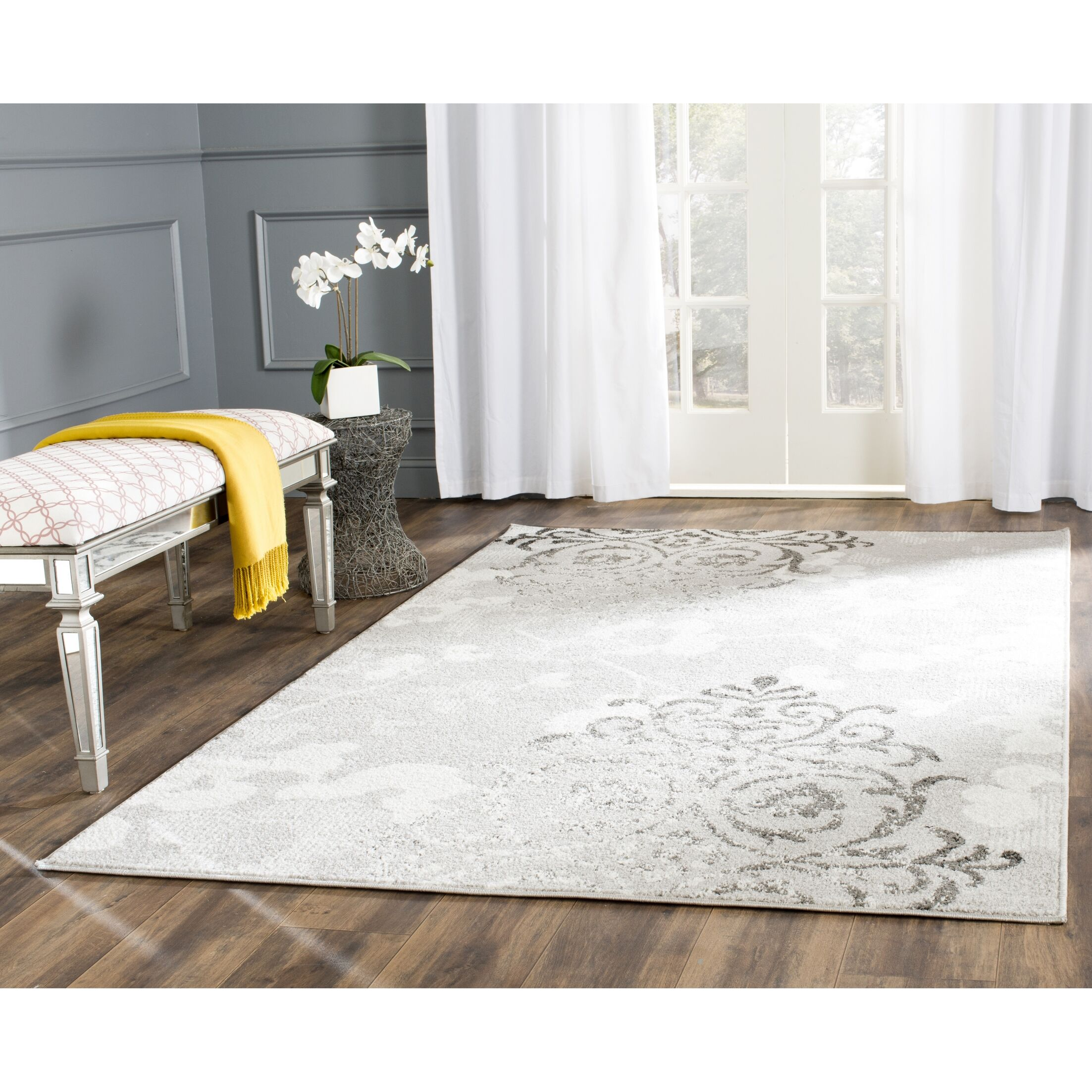 Frizzell Silver/Ivory Area Rug Rug Size: Rectangle 12' x 18'