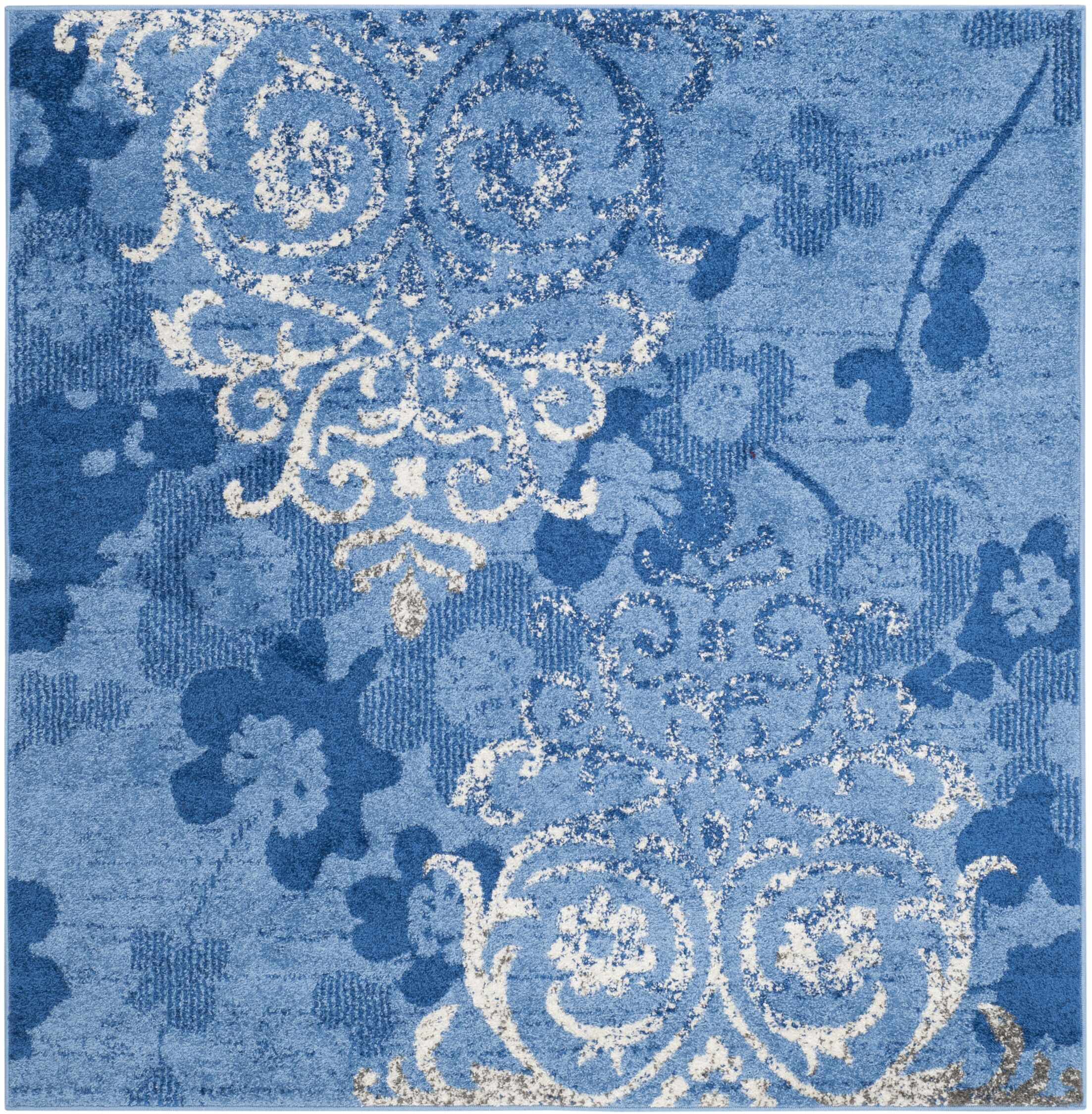 Frizzell Light Blue&Dark Blue Area Rug Rug Size: Square 8'