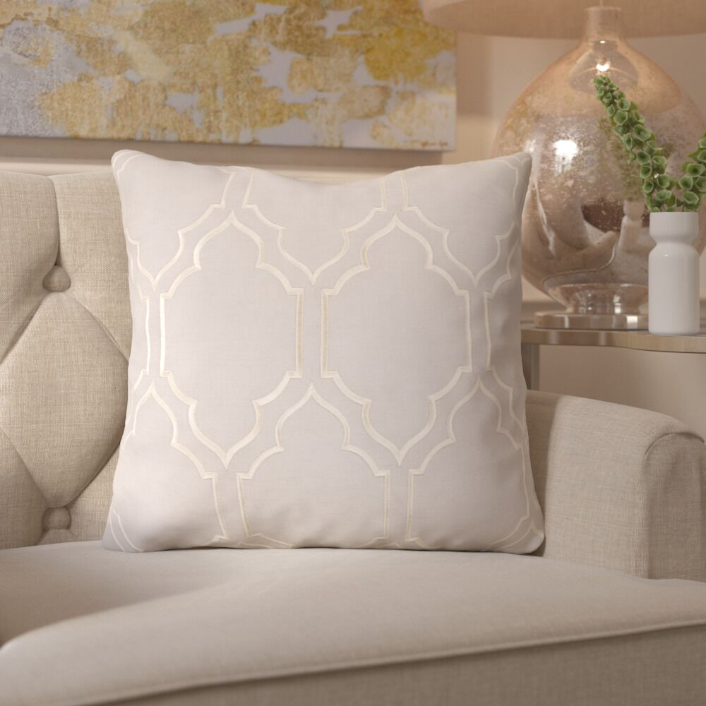 Honiton Linen Throw Pillow Color: Light Gray, Size: 22