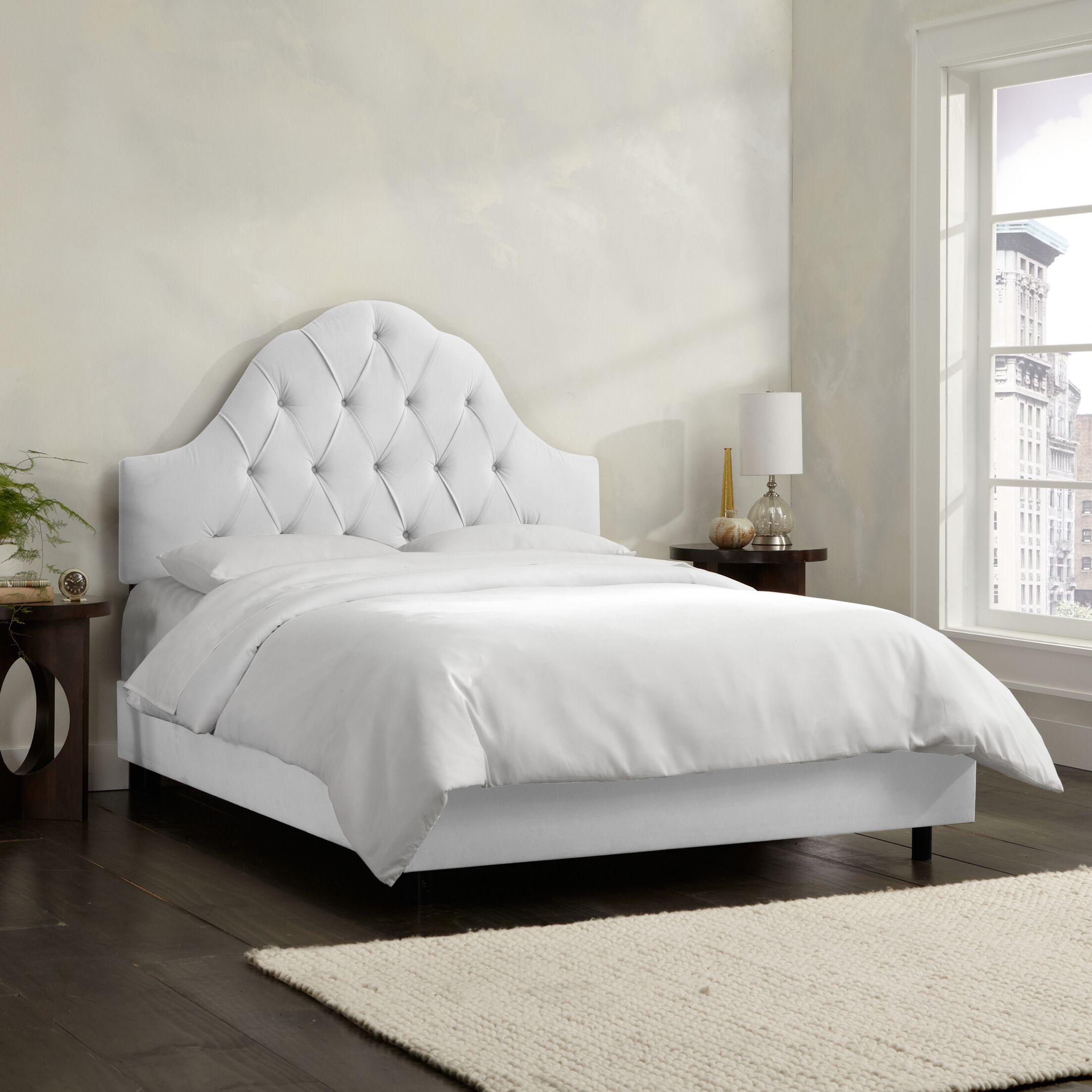 Socorro Upholstered Panel Bed Size: Full, Color: Velvet - White