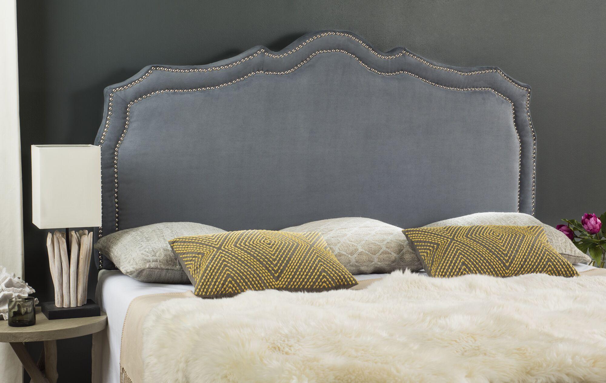 Quiana Upholstered�Panel Headboard Size: Queen, Color: Steel Blue