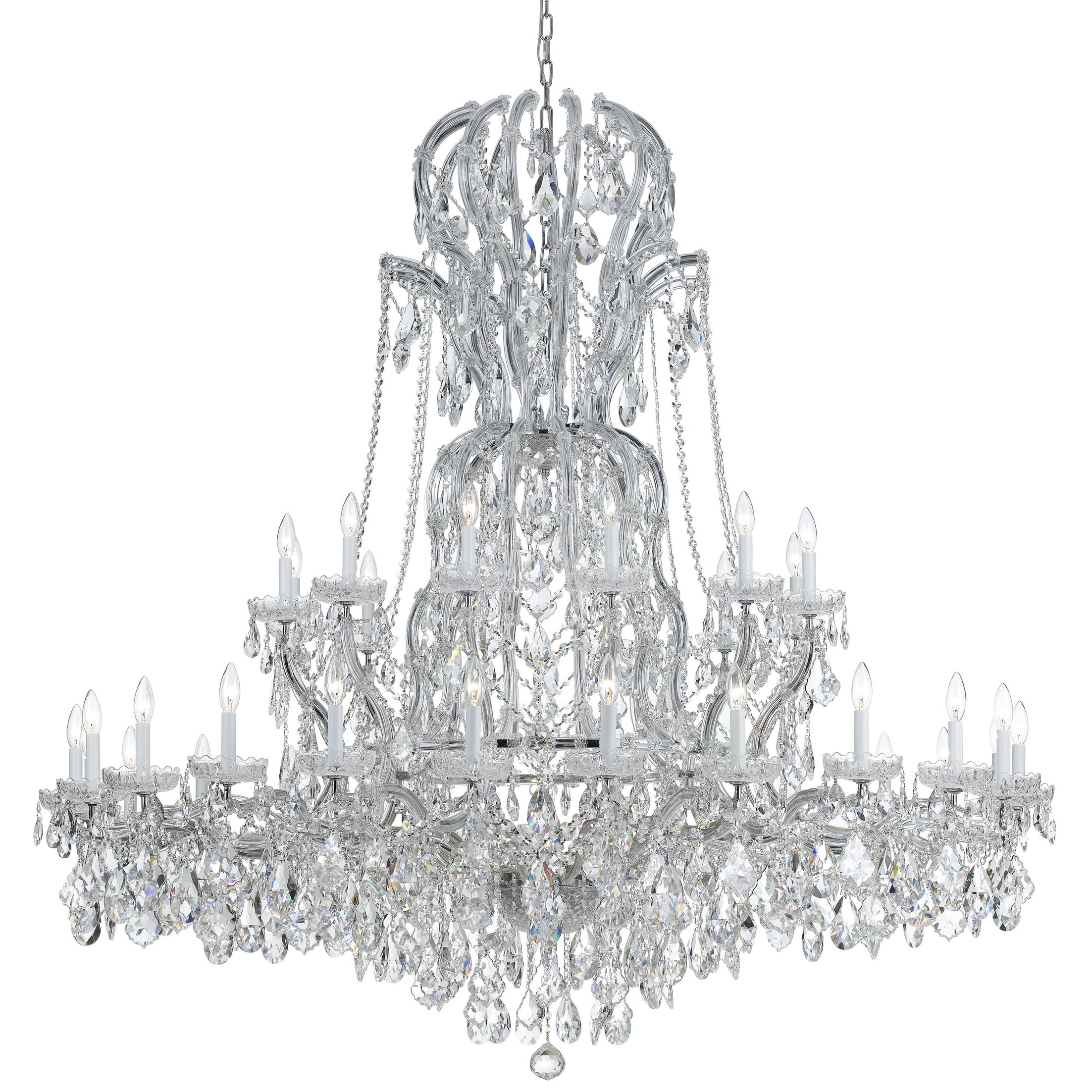 Milan 37-Light Candle Style Chandelier Finish: Chrome, Crystal Type: Majestic Wood Polished