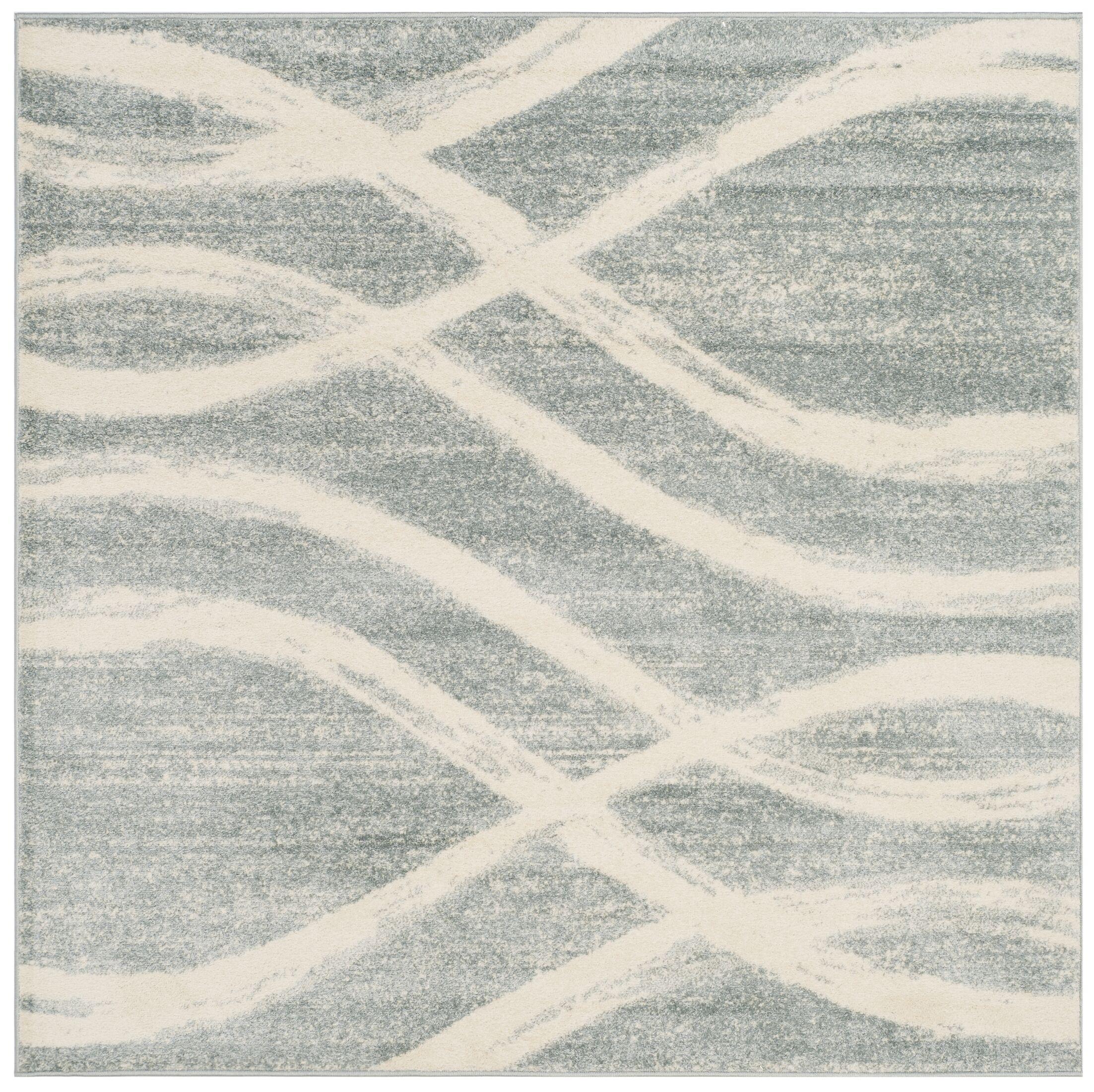 Marlee Cream/Slate Blue Area Rug Rug Size: Square 6'