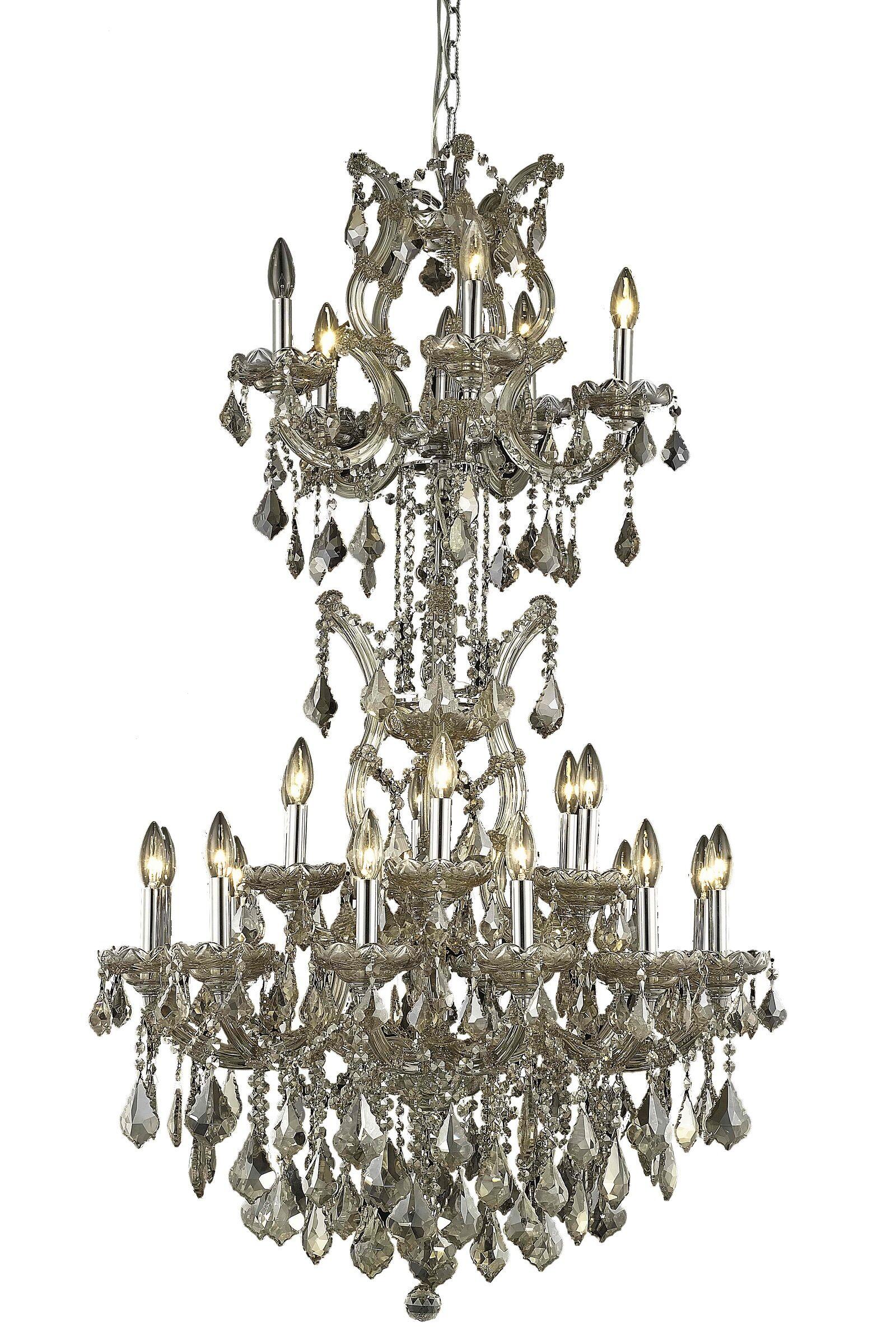 Regina 25-Light Candle Style Chandelier Finish / Crystal Finish / Crystal Trim: Golden Teak / Golden Teak (Smoky) / Royal Cut