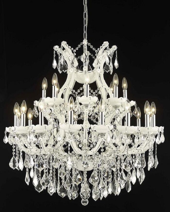 Regina 24-Light Candle Style Chandelier Finish / Crystal Finish / Crystal Trim: White / Crystal (Clear) / Royal Cut