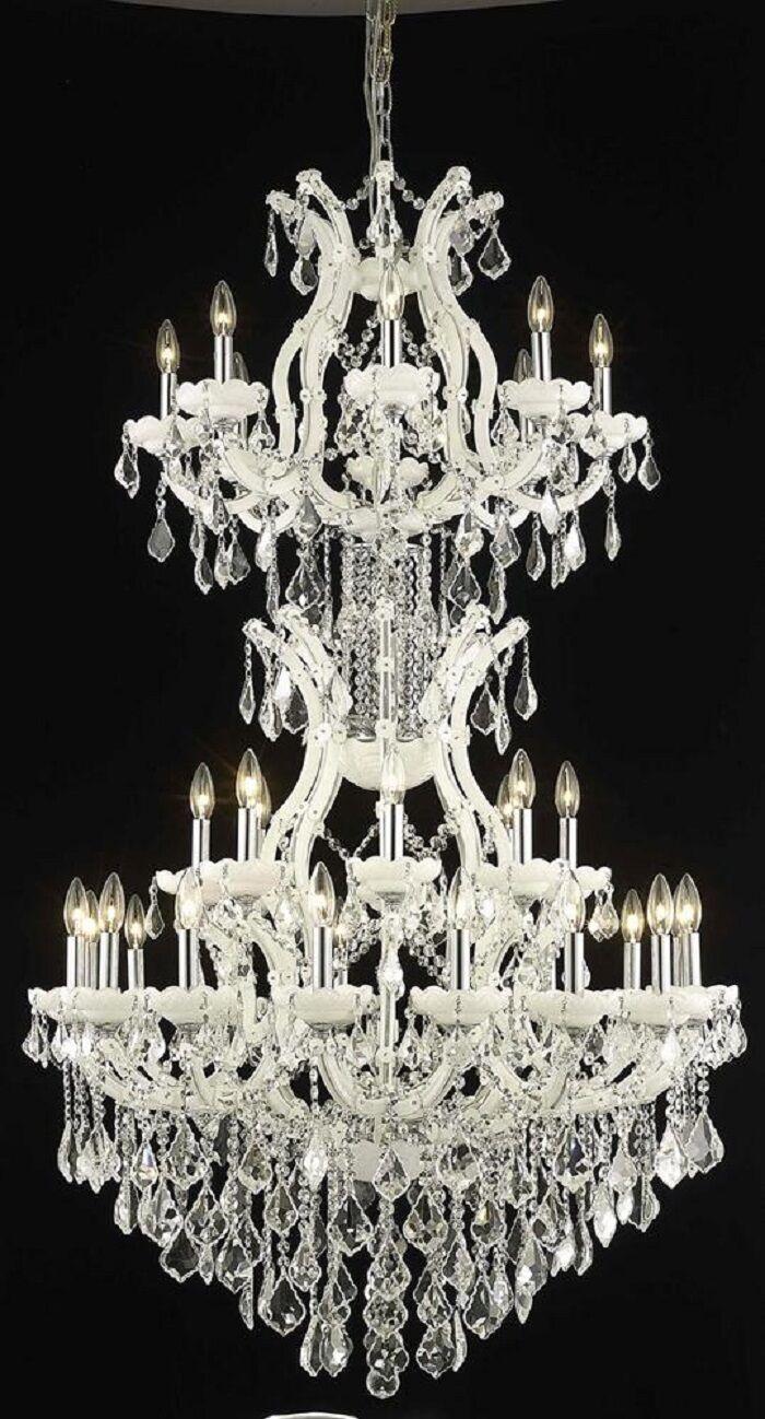 Regina 34-Light Candle Style Chandelier Finish / Crystal Finish / Crystal Trim: White / Crystal (Clear) / Strass Swarovski
