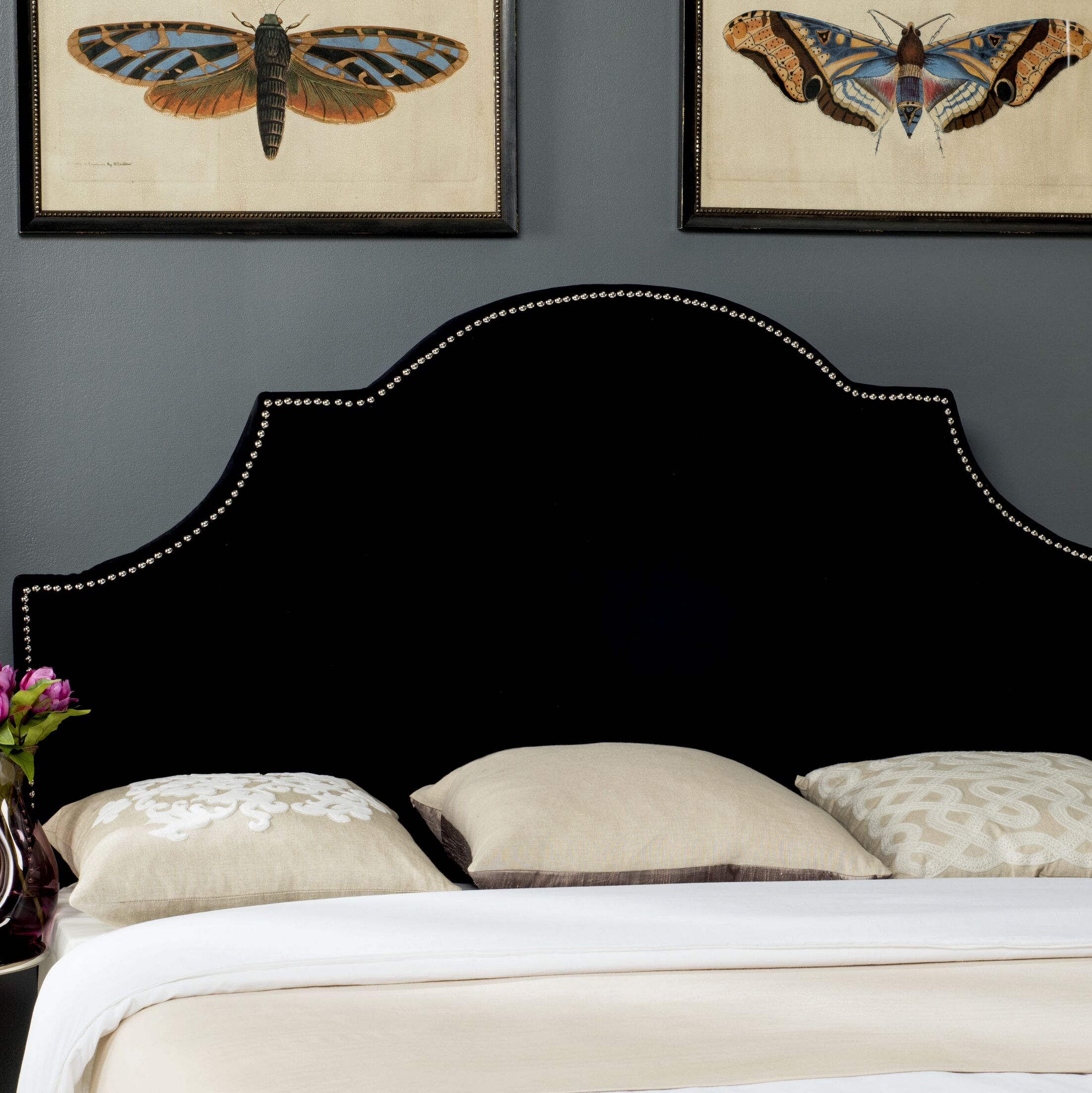 Caswell Upholstered Panel Headboard Size: Full, Color: Black, Upholstery: Velvet