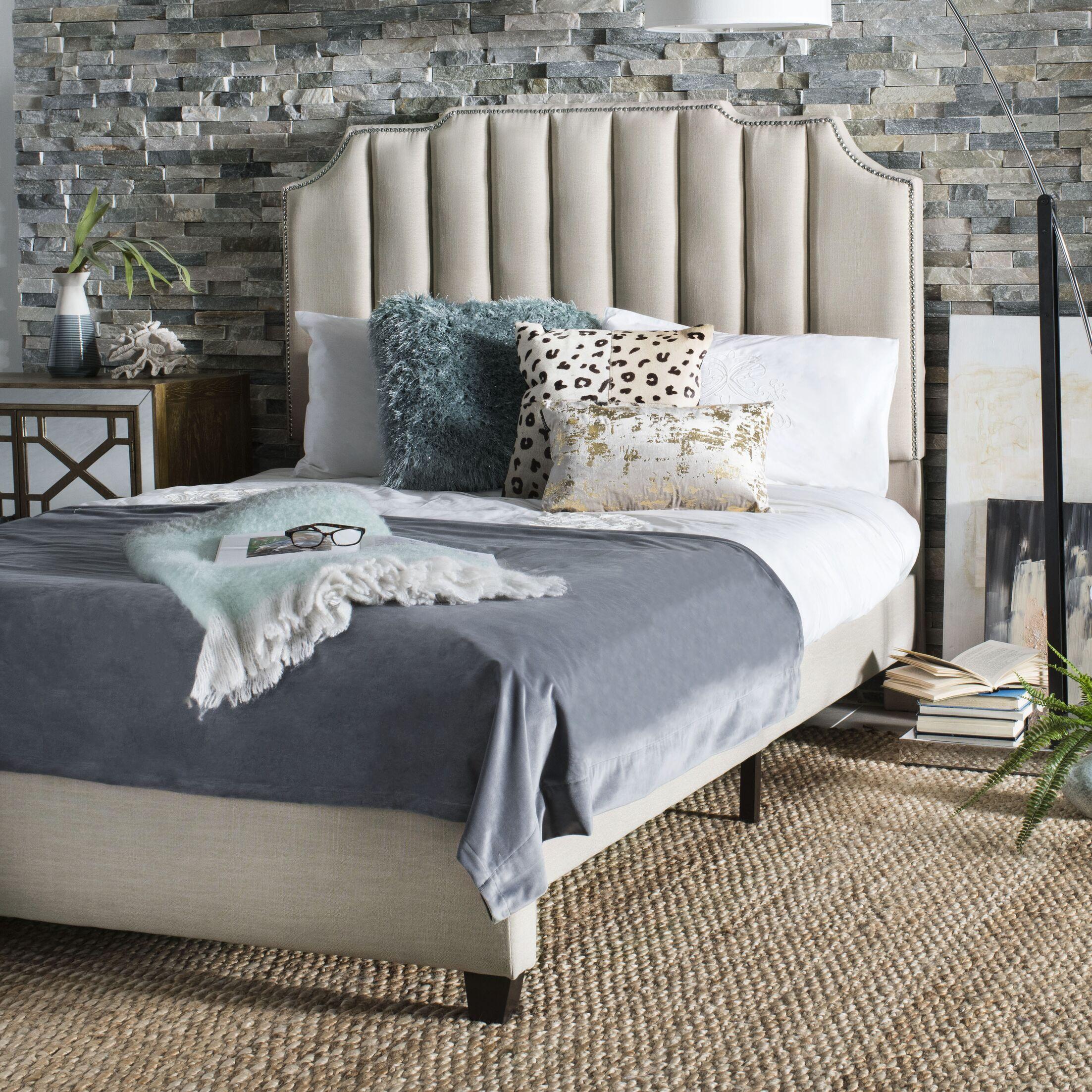 Musgrave Upholstered Panel Bed Color: Beige, Size: Full