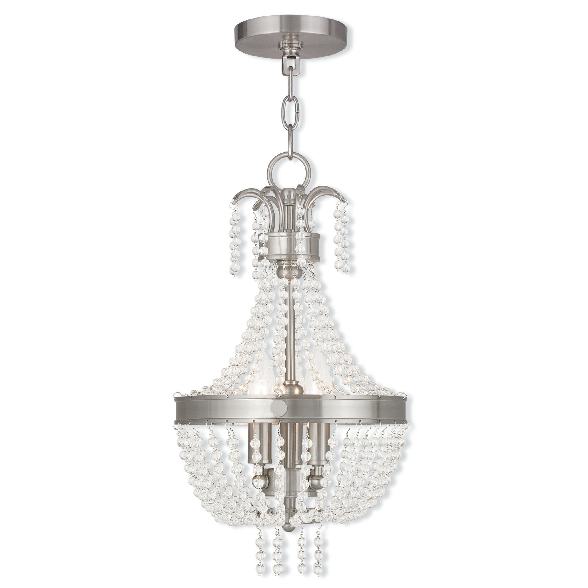Rachedi 3-Light Empire Chandelier Finish: Brushed Nickel