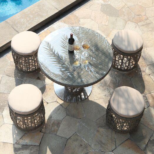 Tiya 5 Piece Dining Set with Cushions