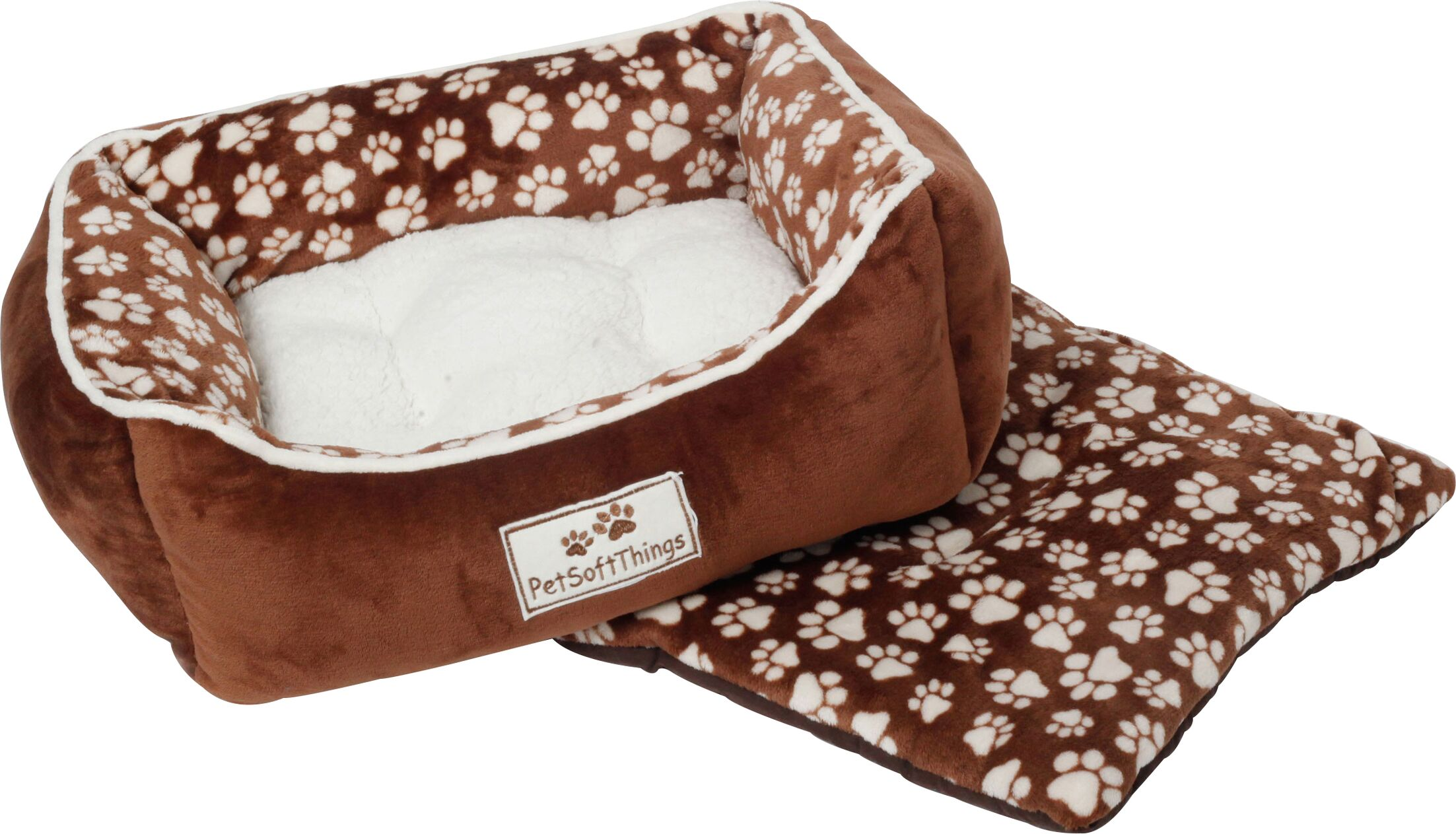 Dog Paw Pet Bed with Removable Pillows Color: Chocolate