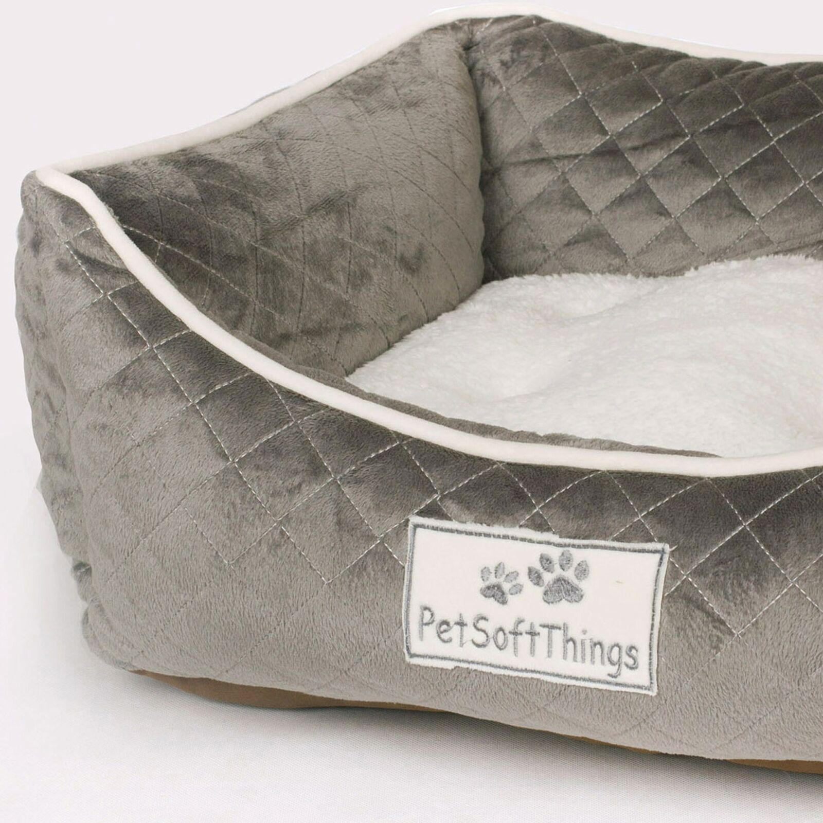 Microplush Quilted Dog Bed with Removable Pillow Color: Aqua Gray