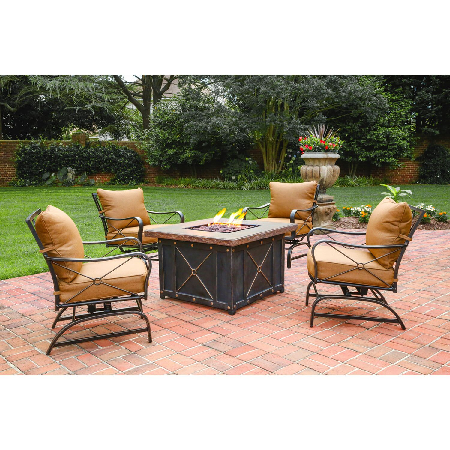 Debbie 5 Piece Conversation Set 2 Person Seating Group with Cushions