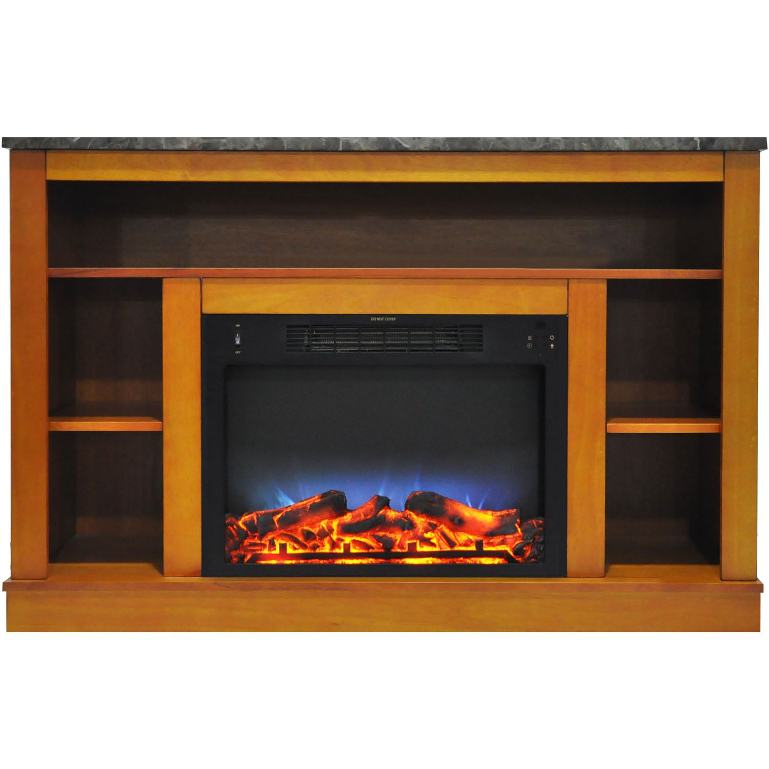 Eudora TV Stand with Electric Fireplace Finish: Teak