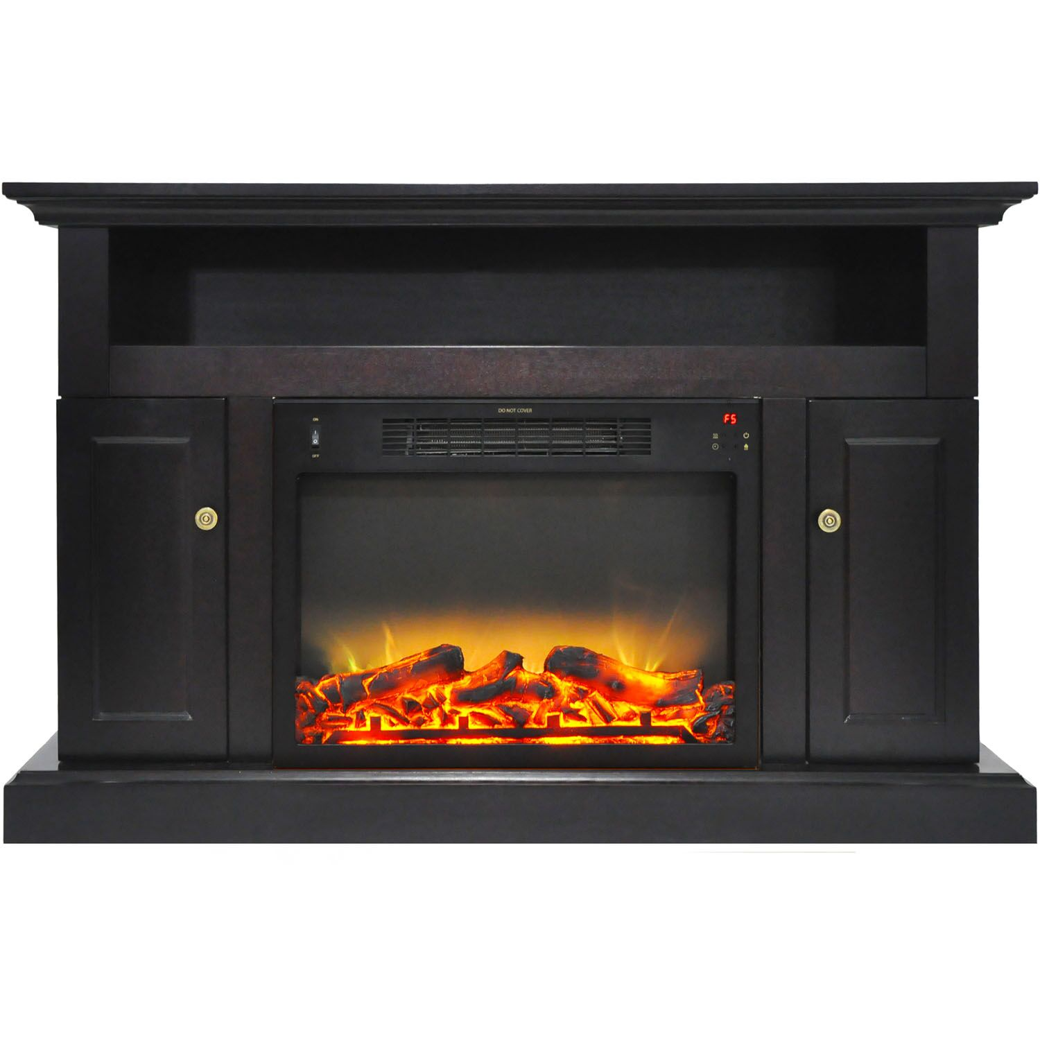 Broncho TV Stand with Electric Fireplace Finish: Black Coffee
