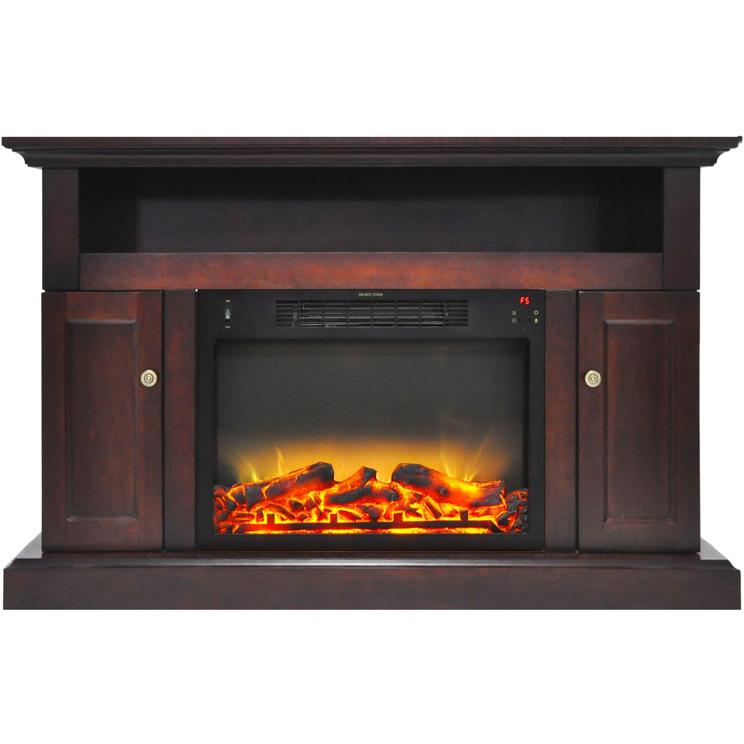 Broncho TV Stand with Electric Fireplace Finish: Mahogany
