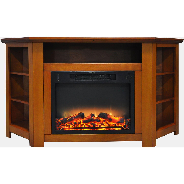 Cesar Electric Fireplace TV Stand Finish: Teak
