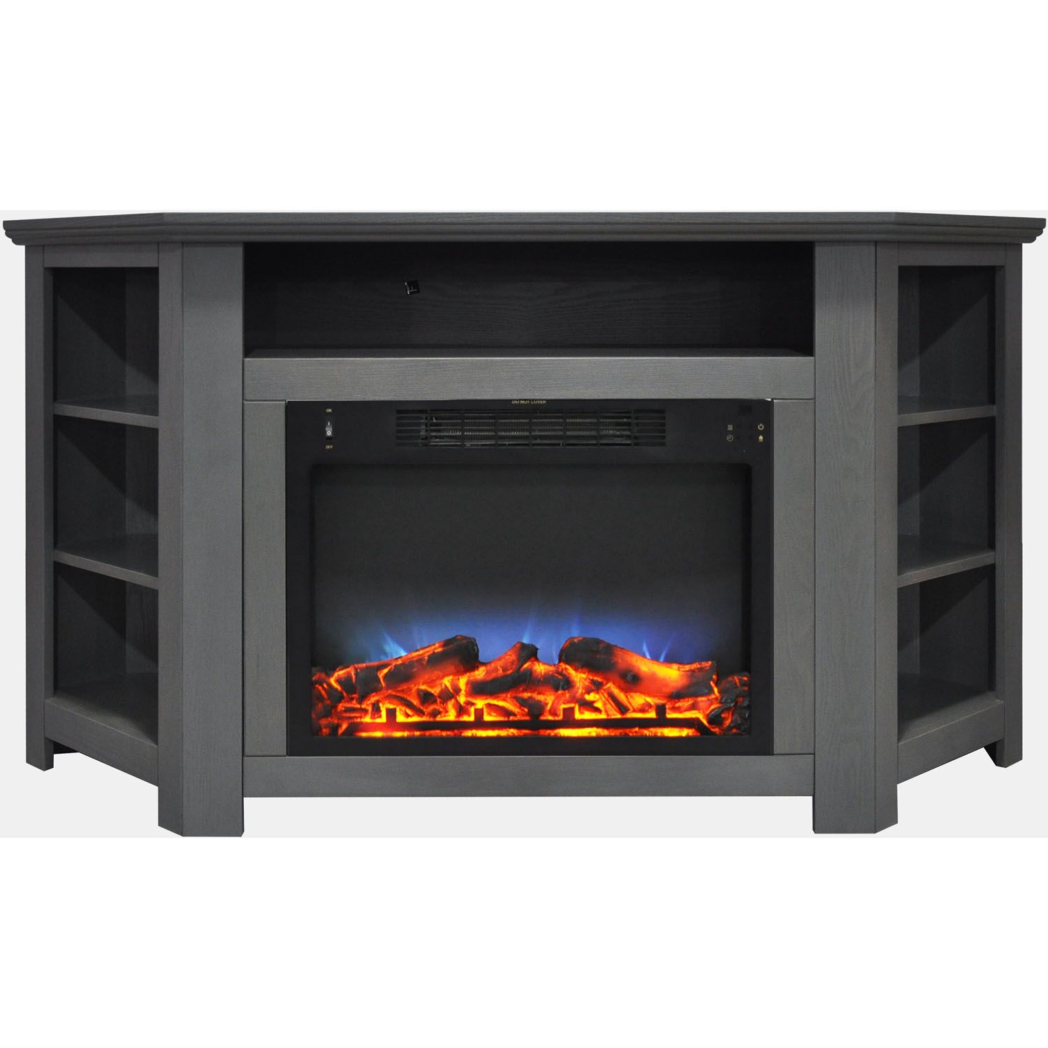 Cesar LED Electric Fireplace TV Stand Finish: Gray